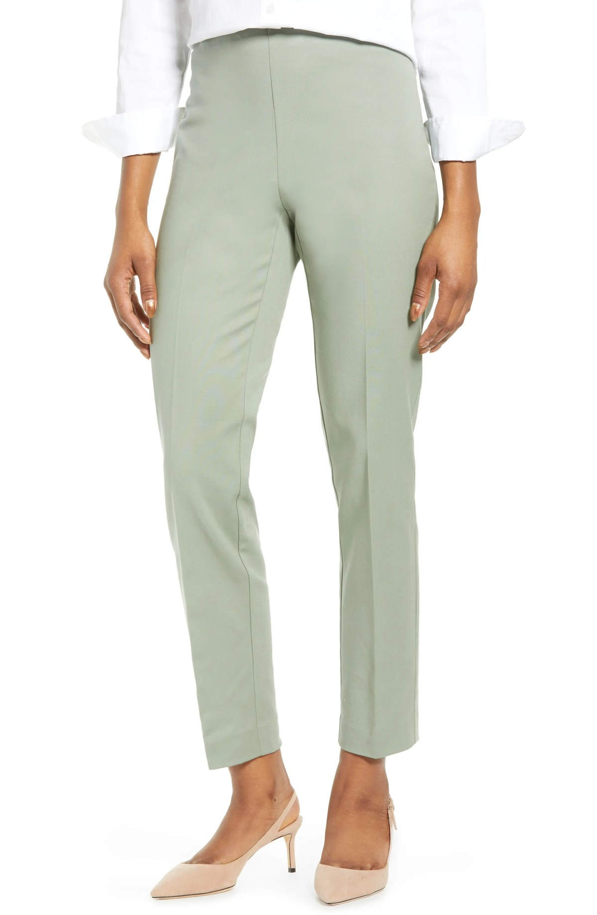 VINCE CAMUTO Side Zip Stretch Cotton Blend Pants, Main, color, SMOKED SAGE