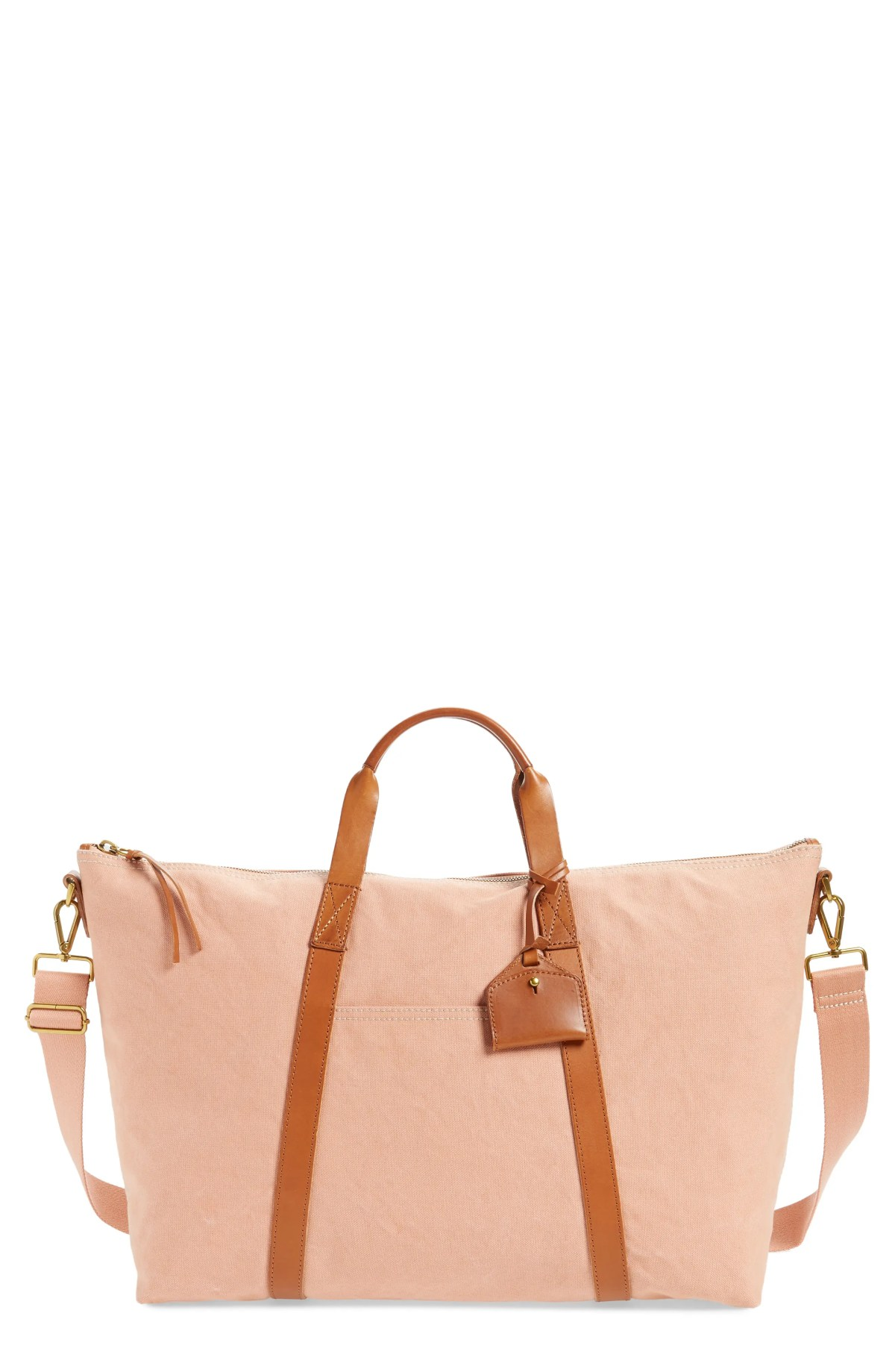 MADEWELL Canvas Weekend Bag, Main, color, ANTIQUE CORAL