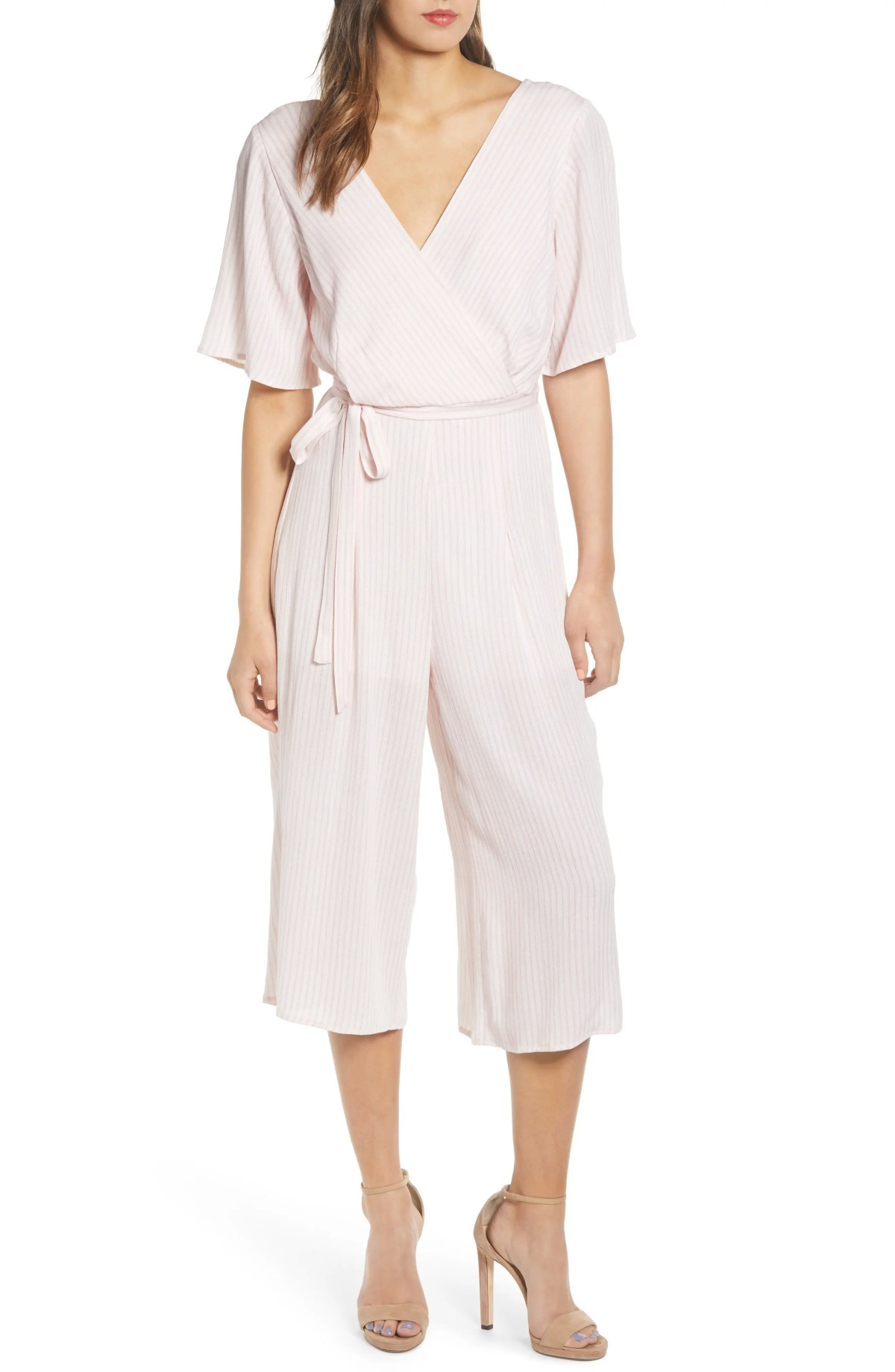ROW A Double V Jumpsuit, Main, color, PINK IVORY STRIPE