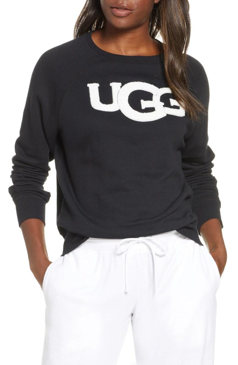 ugg fuzzy logo sweatshirt nordstrom