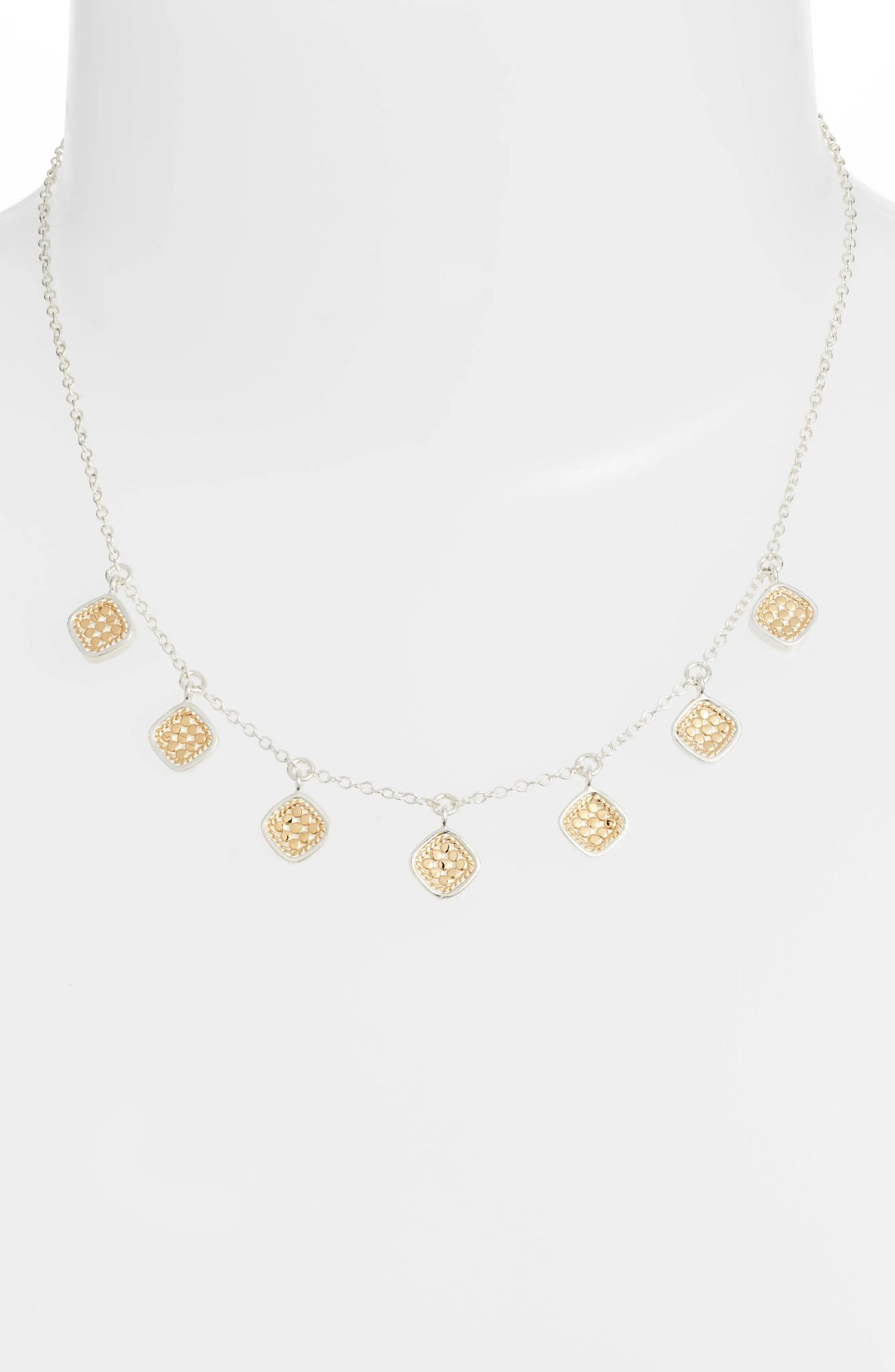 Cushion Charm Collar Necklace, Alternate, color, GOLD/ SILVER
