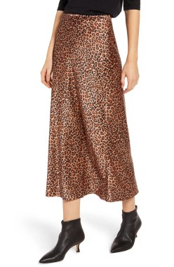Midi Slip Skirt, Main, color, TAN MACAROON LEOPARD