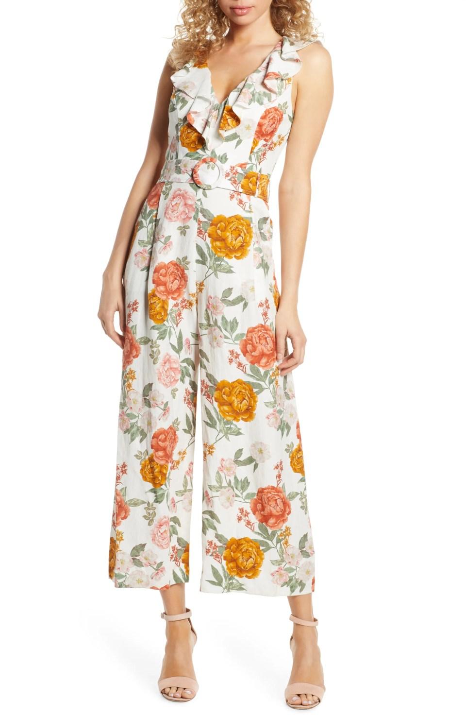 Sage Floral Print Belted Jumpsuit, Main, color, SUMMER BLOOM PORCELAIN