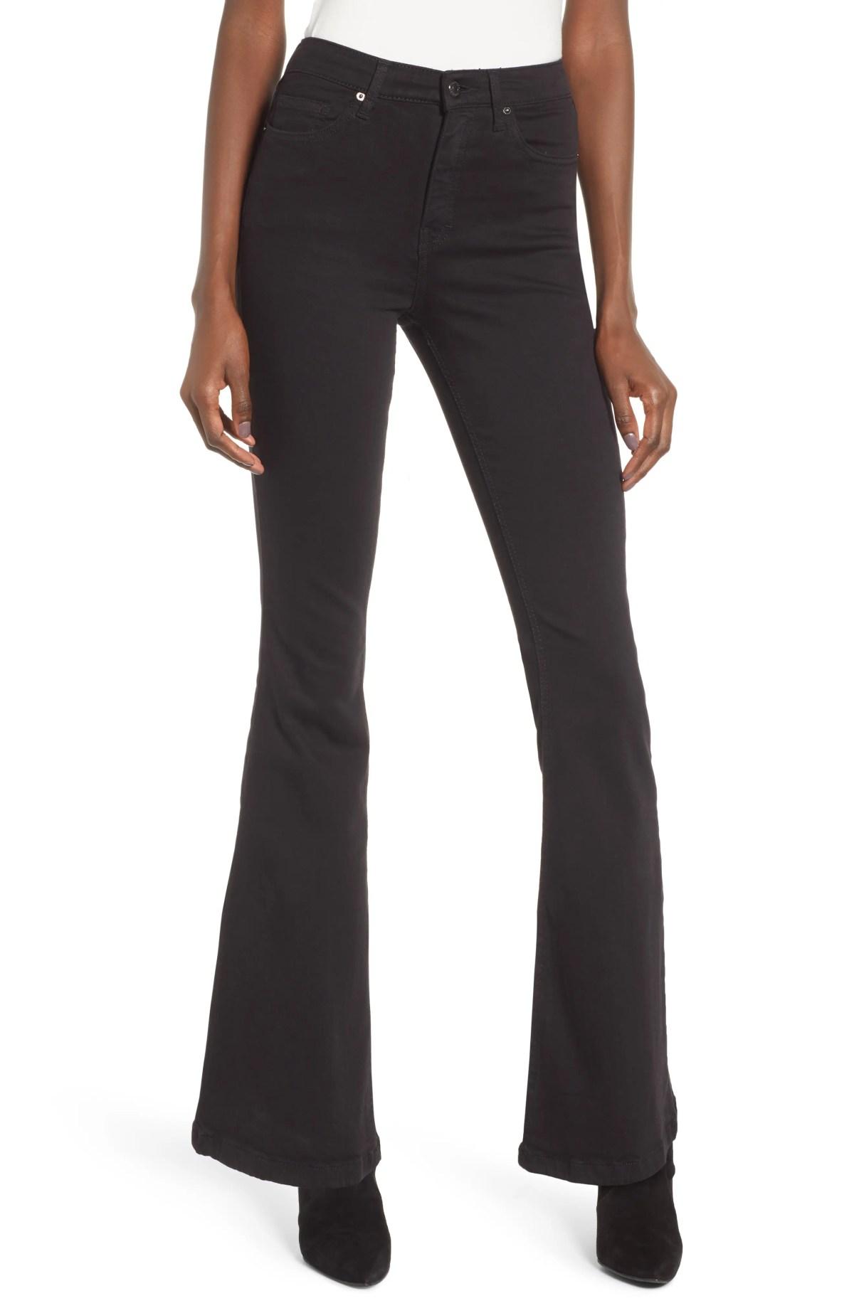 TOPSHOP Jamie High Waist Flare Leg Jeans, Main, color, BLACK