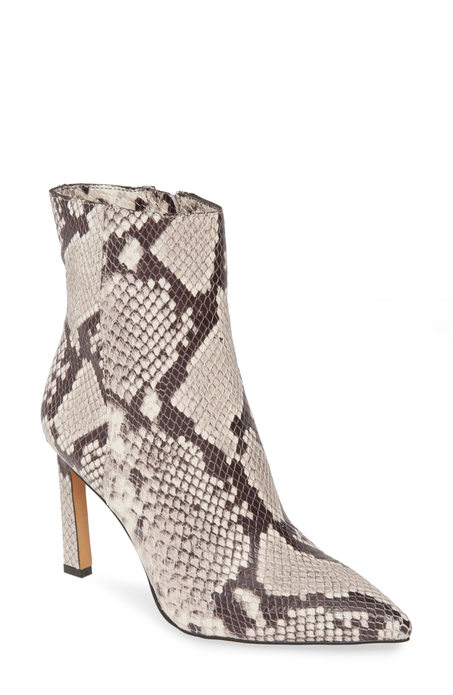 VINCE CAMUTO Sashala Pointed Toe Bootie, Main, color, BLACK WHITE SNAKE PRINT