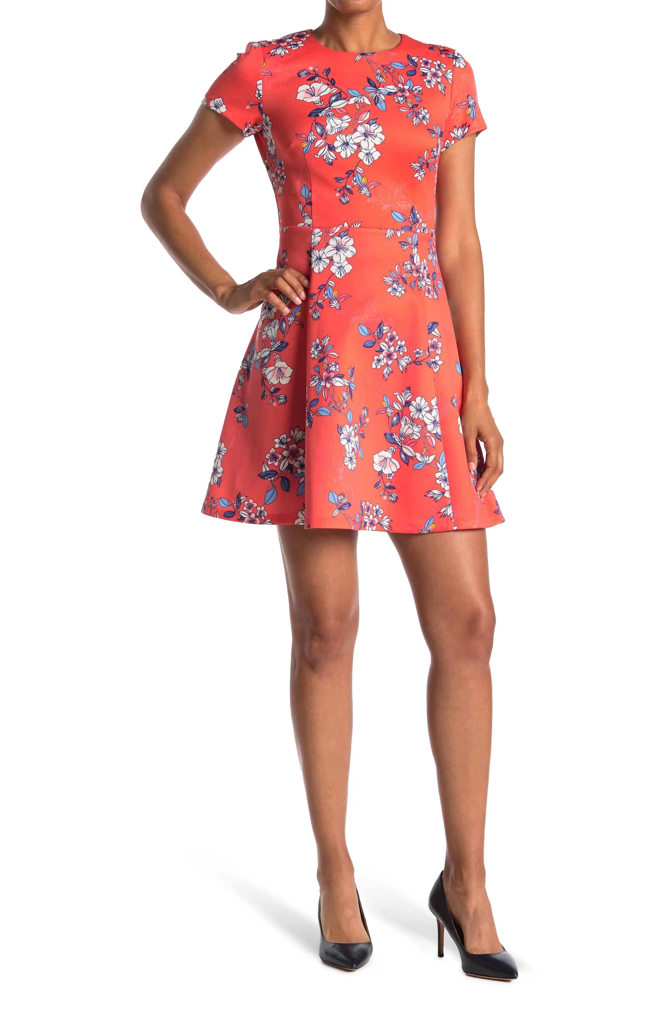 vince camuto scuba short sleeve fit and flare dress nordstrom rack