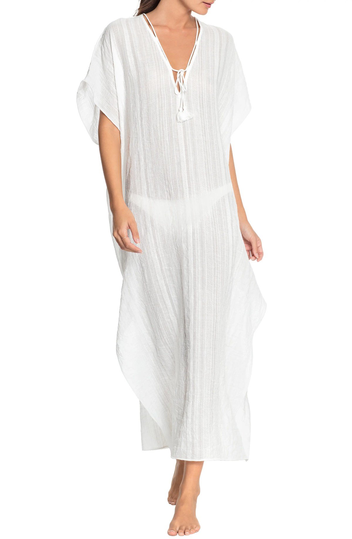 ROBIN PICCONE Michelle Long Caftan, Main, color, WHITE