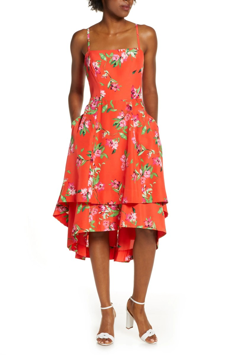 floral tiered high low