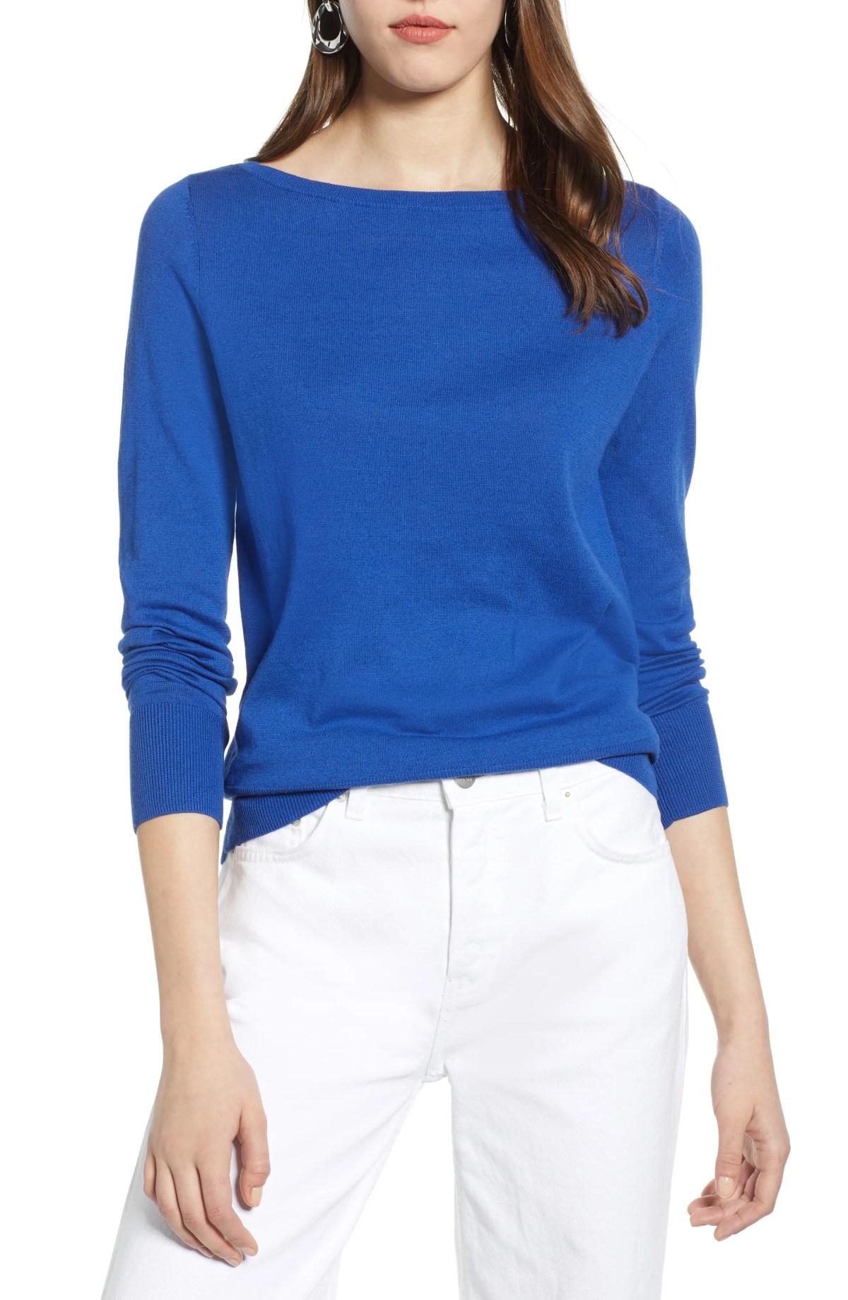 HALOGEN<SUP>®</SUP> Bateau Neck Sweater, Main, color, BLUE MAZARINE