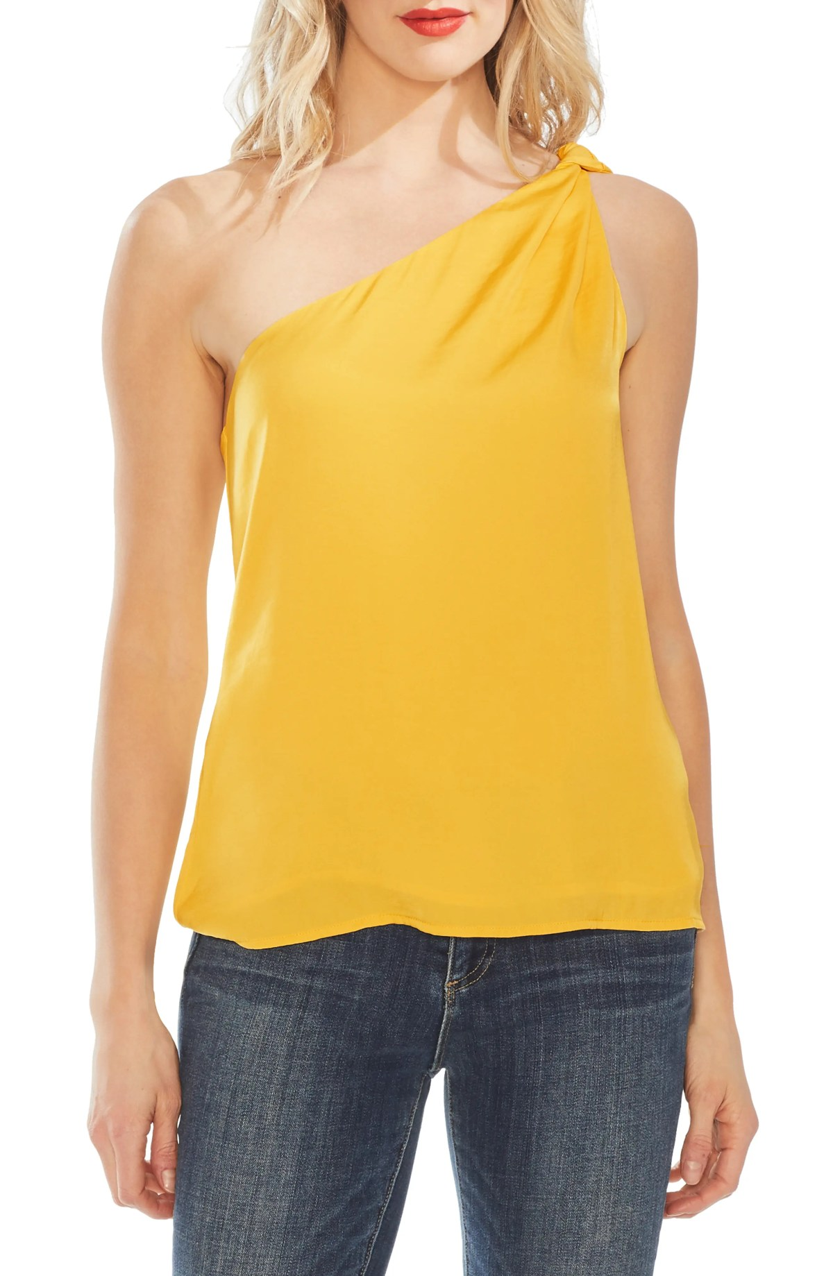 VINCE CAMUTO One-Shoulder Rumple Blouse, Main, color, DANDELION