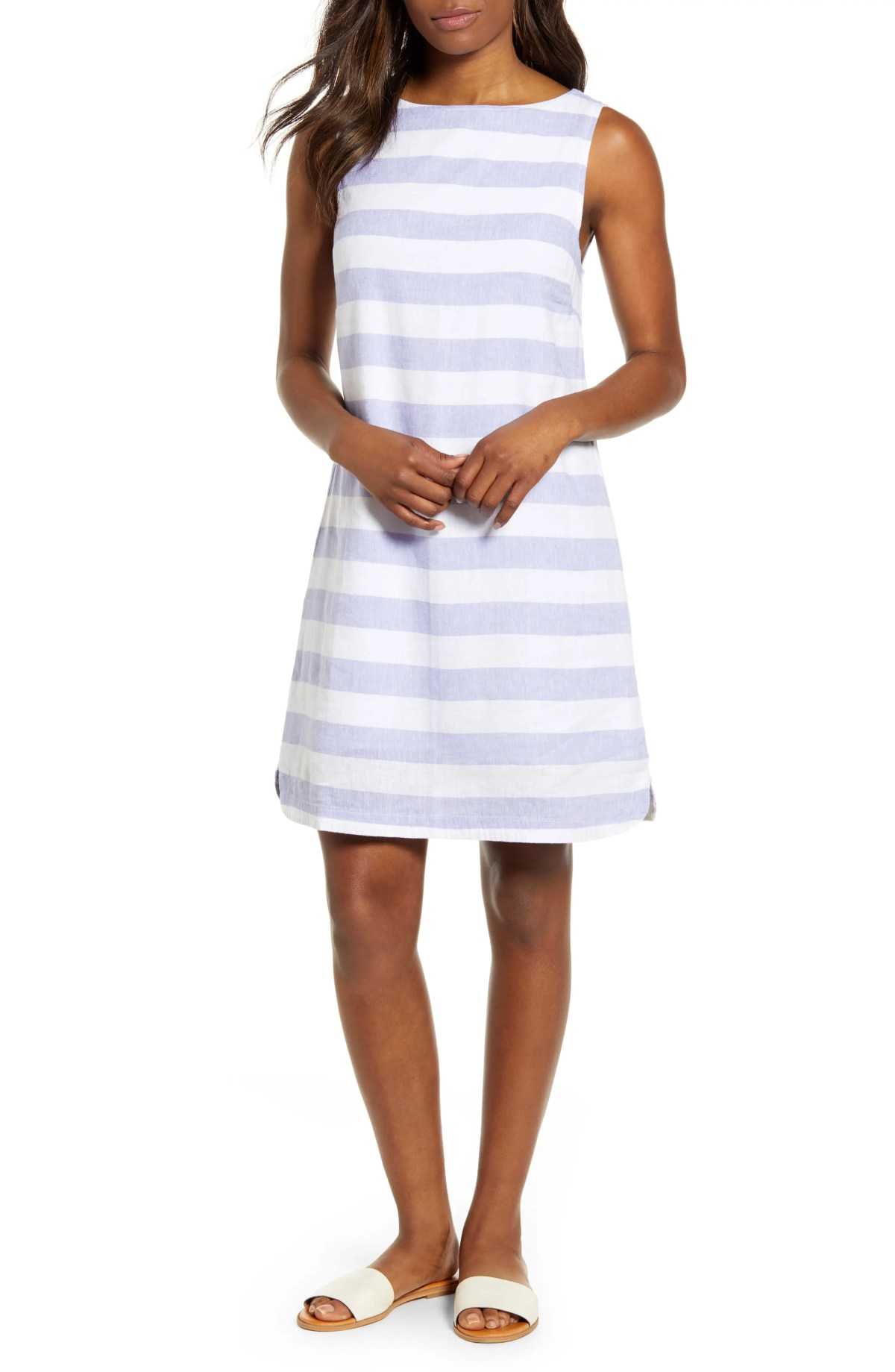 Alina Stripe Linen & Cotton Shift Dress, Main, color, ICE BLUE