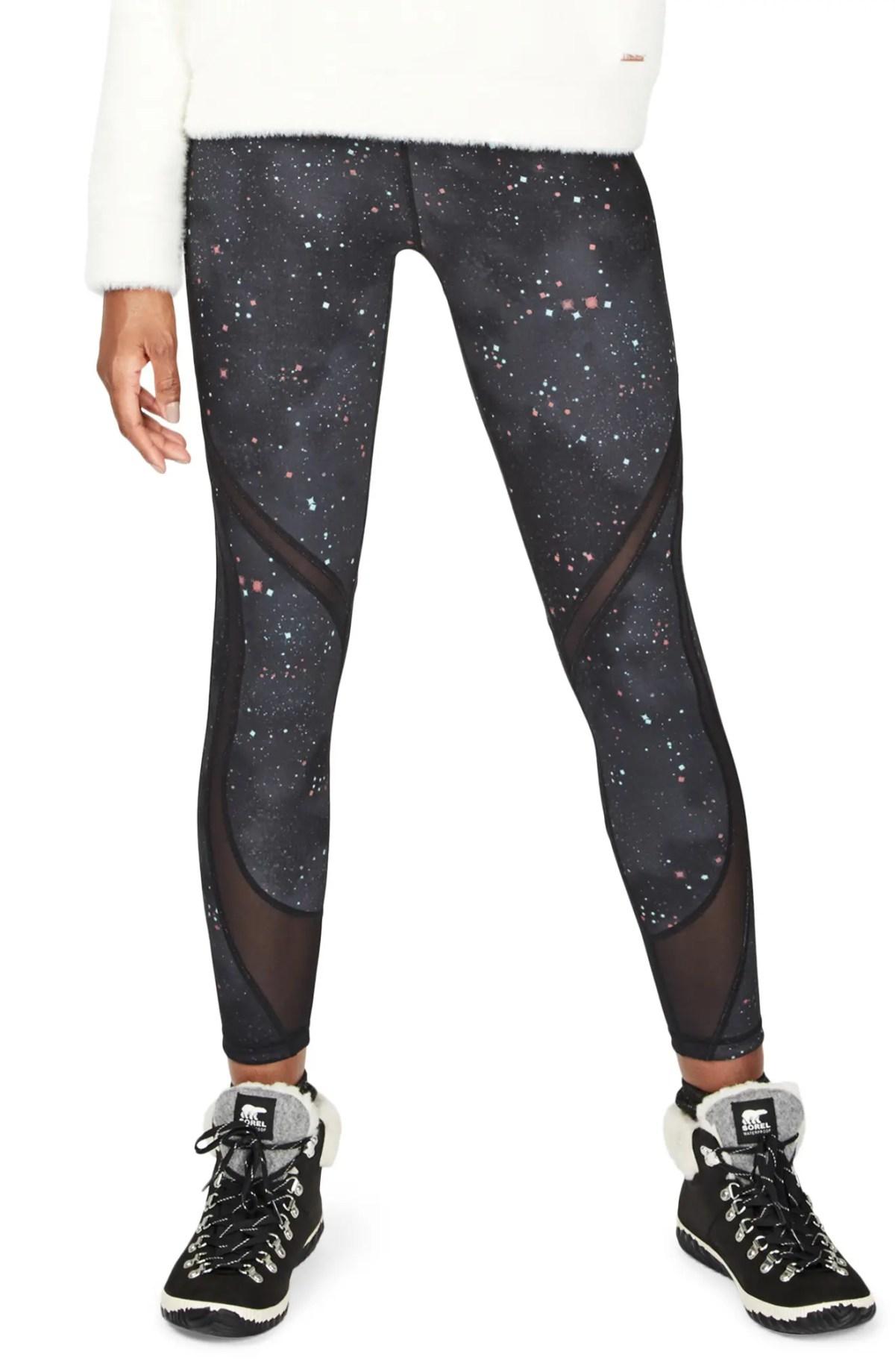 SWEATY BETTY Reversible Mesh Yoga Leggings, Main, color, SPACE RACE DITSY STAR PRINT