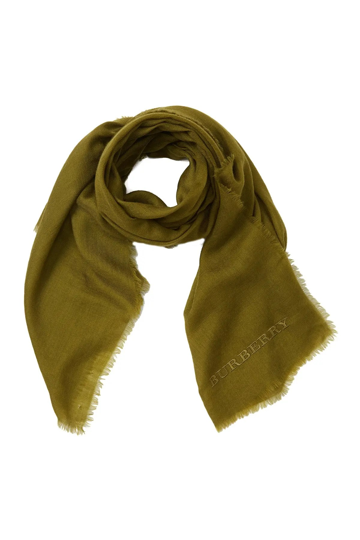 burberry solid embroidered logo cashmere scarf nordstrom rack
