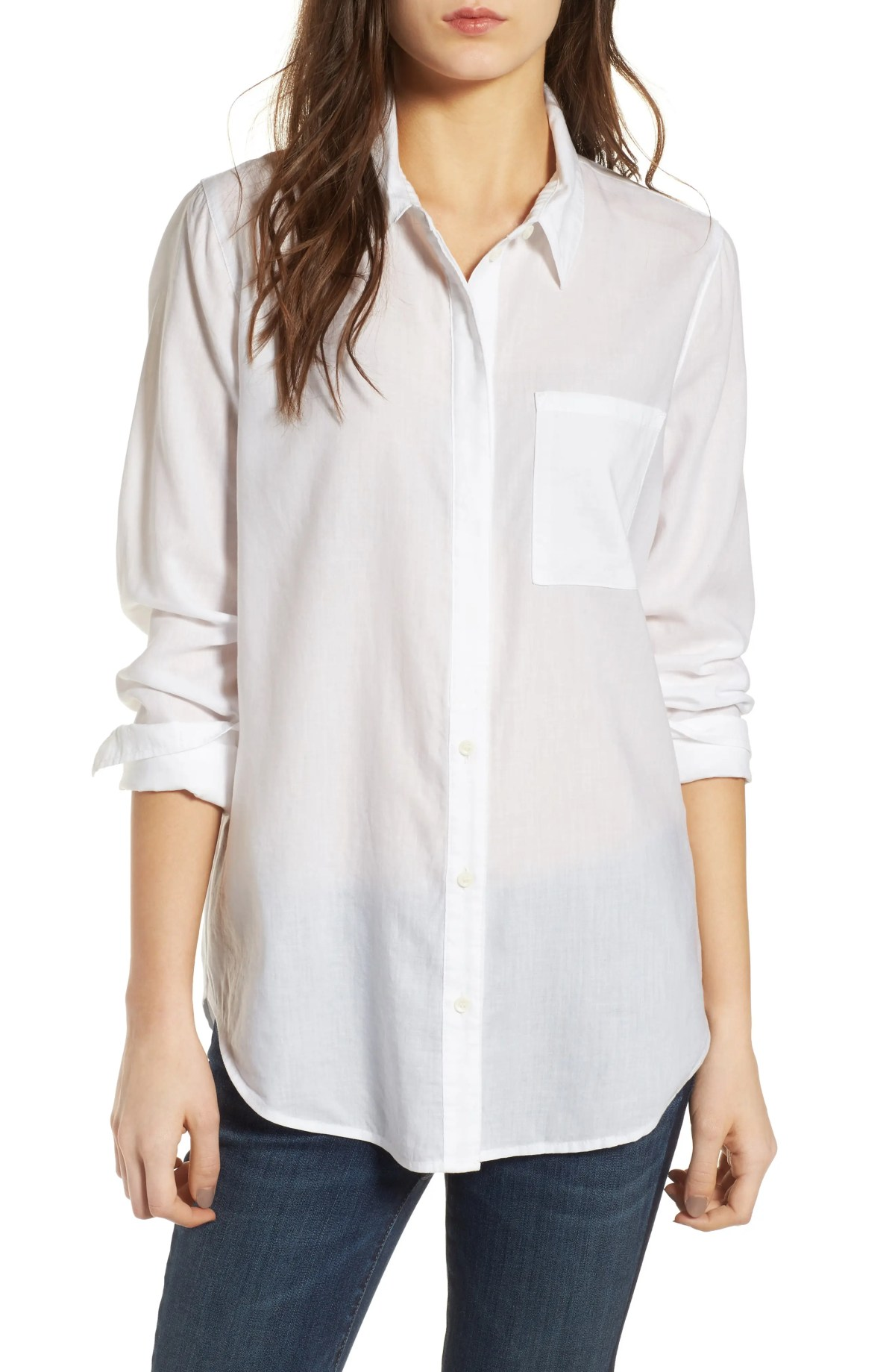 Drapey Classic Shirt, Main, color, WHITE