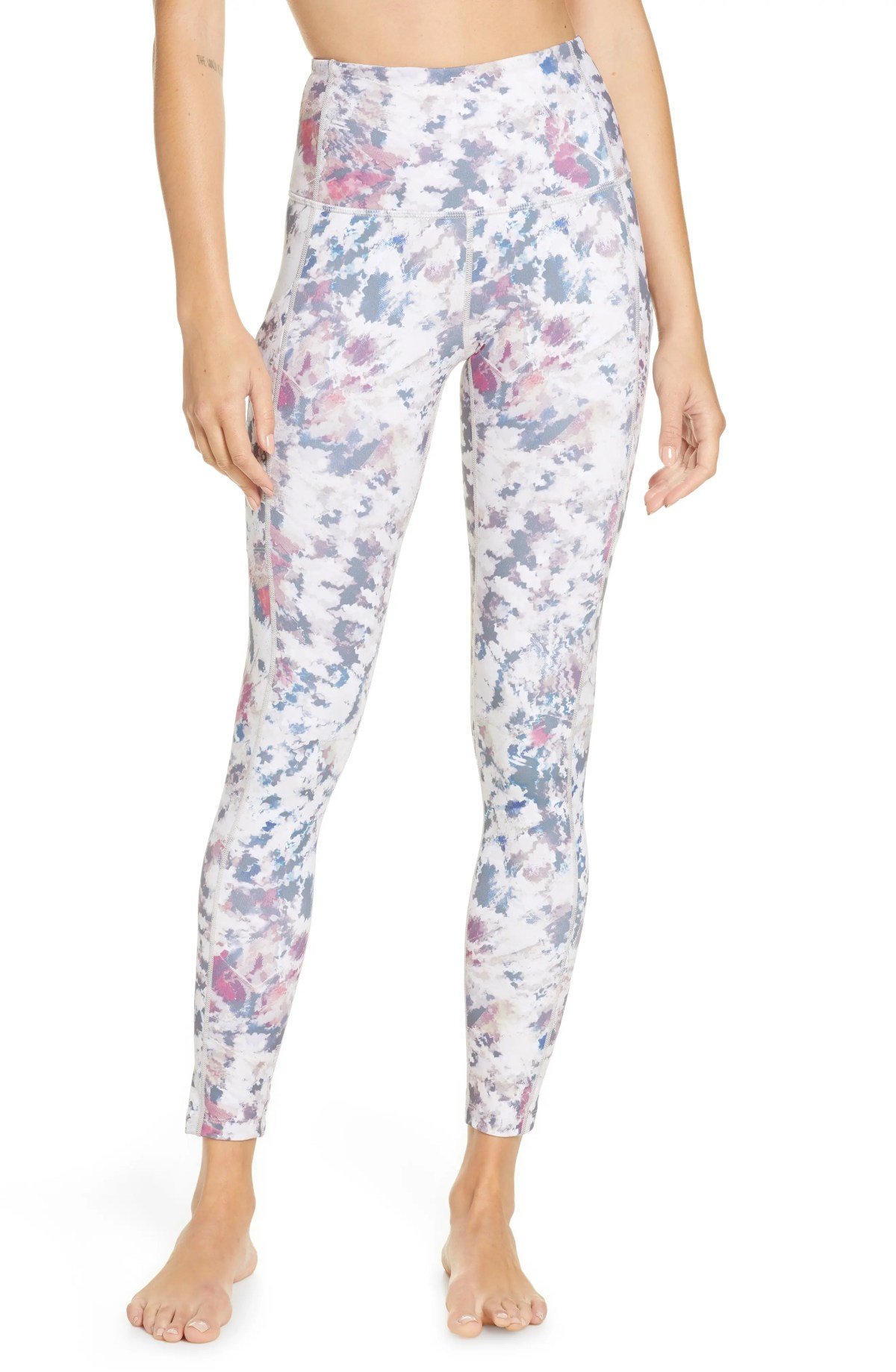 ZELLA Live In High Waist Pocket Ankle Performance Leggings, Main, color, BEIGE MORN TEKTONA PRINT