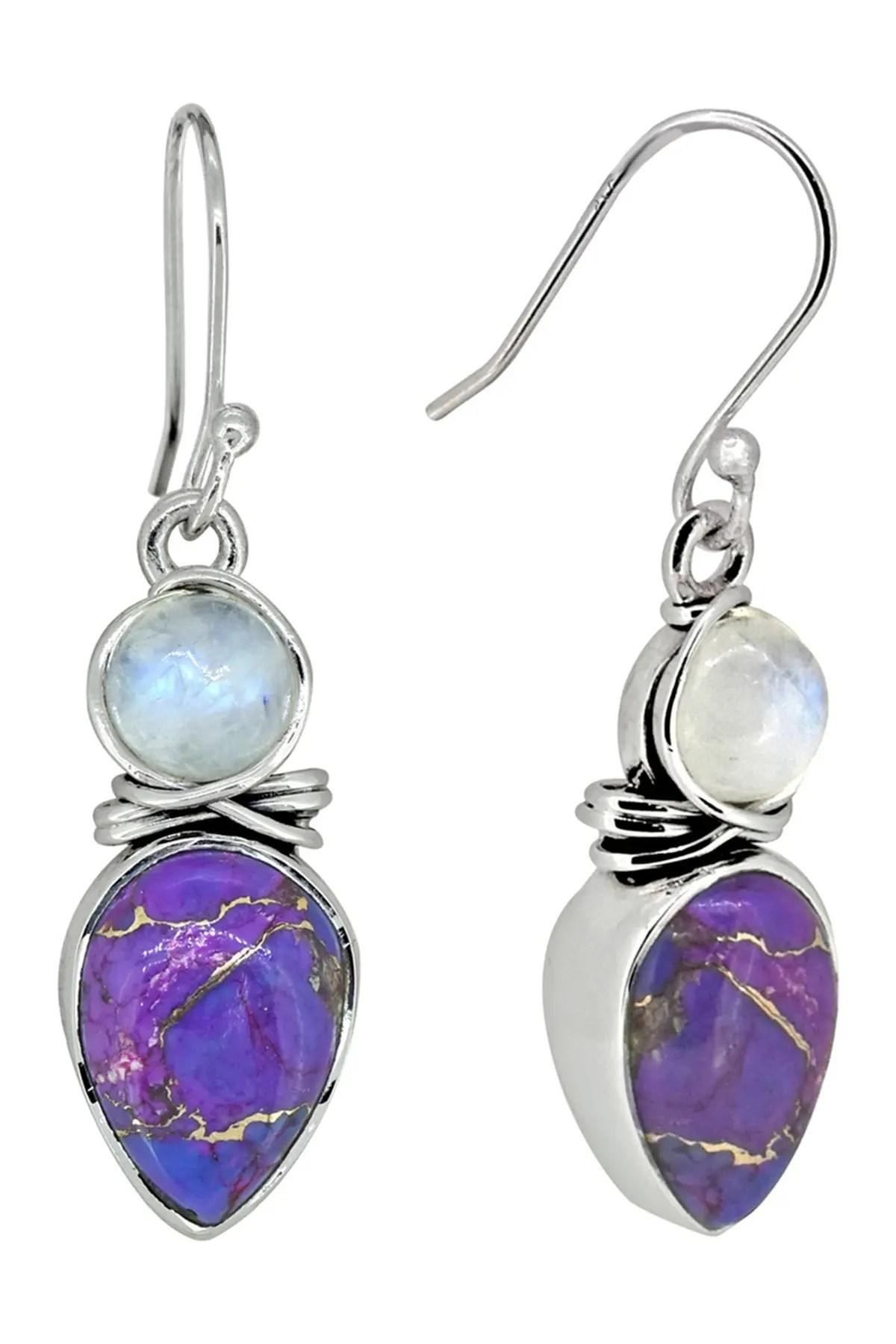 Purple Copper Turquoise : purple, copper, turquoise, Nitya, Sterling, Silver, Purple, Copper, Turquoise, Rainbow, Moonstone, Earring, Nordstrom
