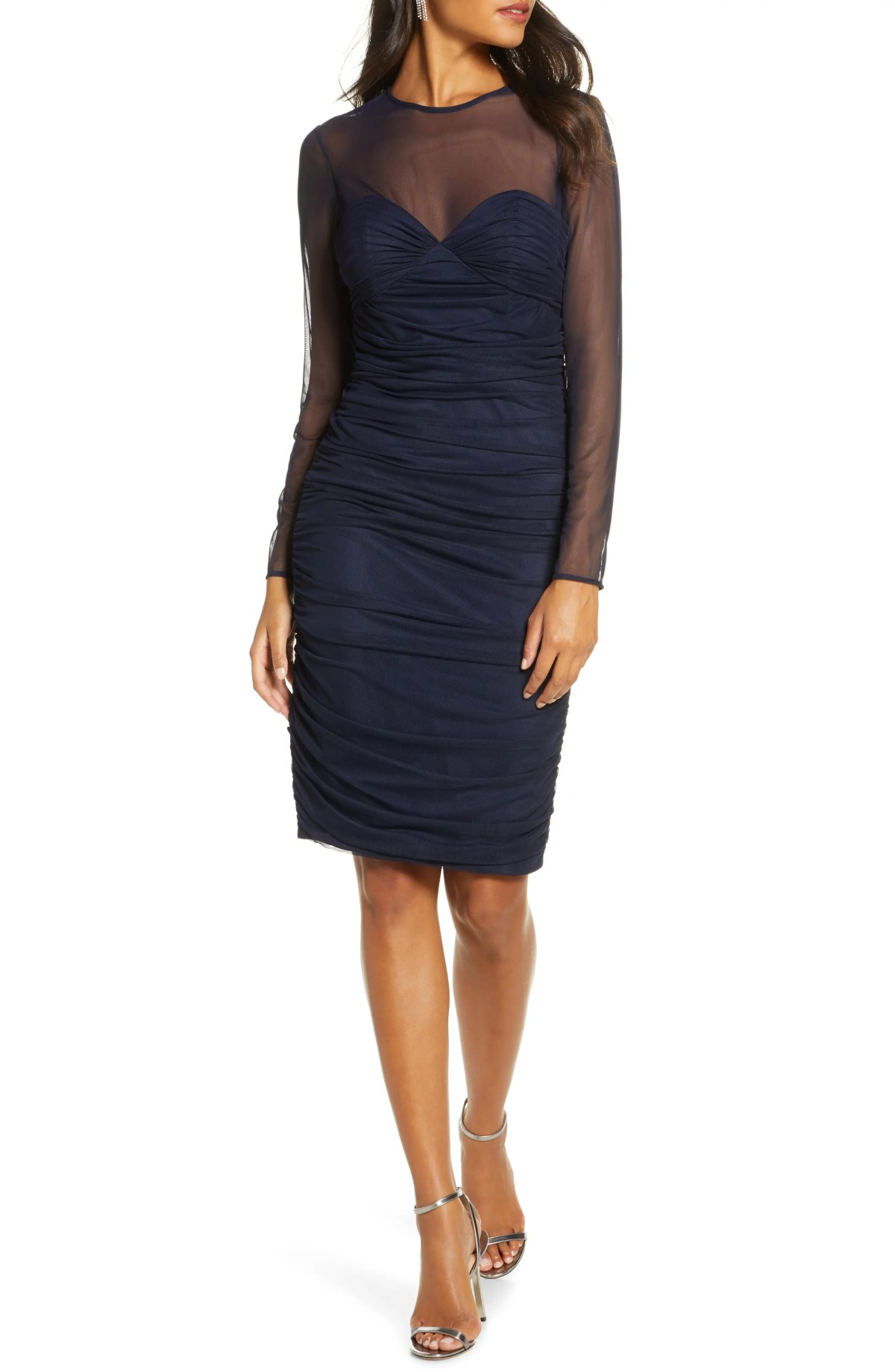ELIZA J Ruched Long Sleeve Illusion Mesh Cocktail Dress, Main, color, NAVY