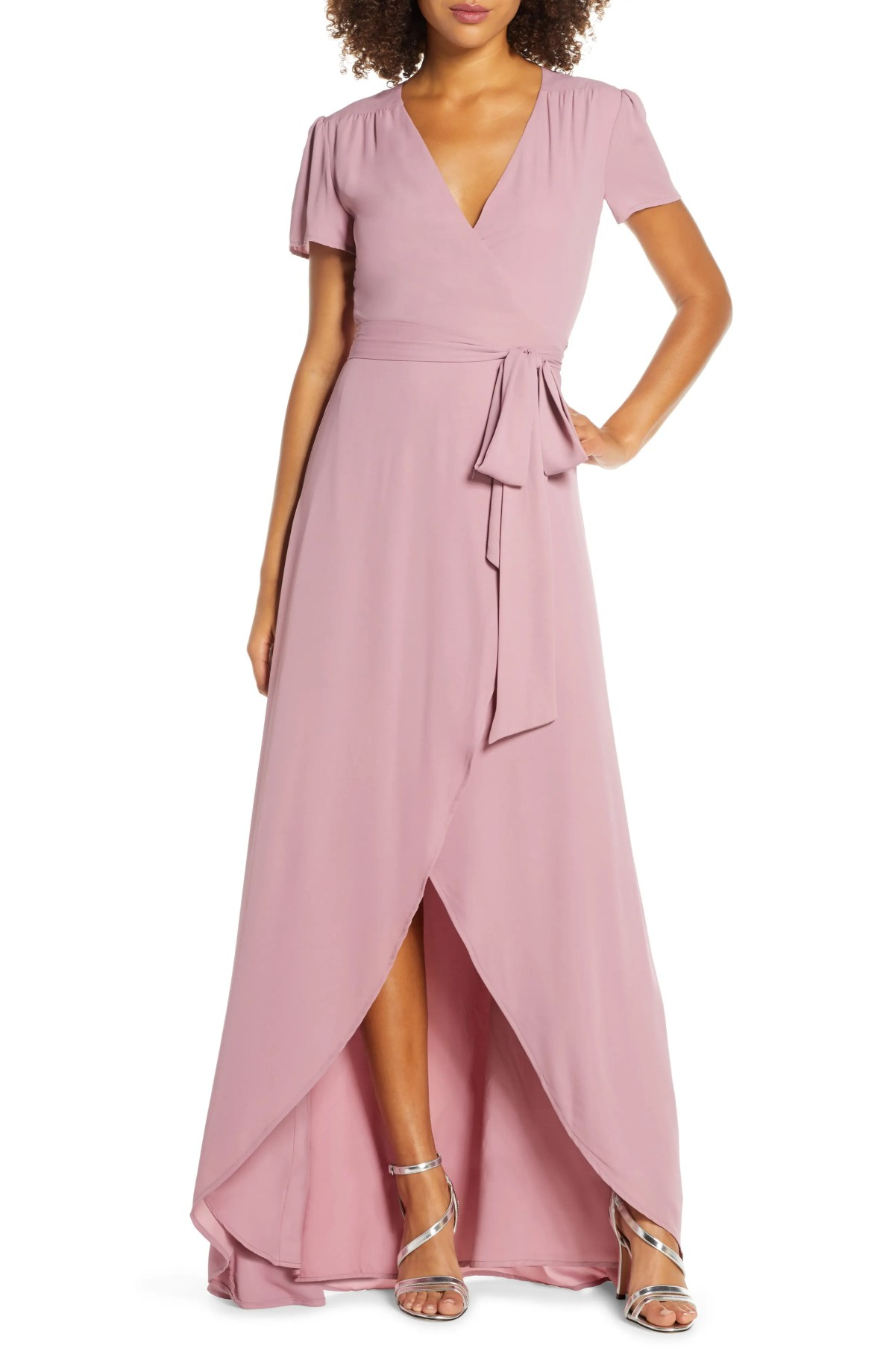 WAYF The Zoey Short Sleeve Wrap Gown, Main, color, MAUVE