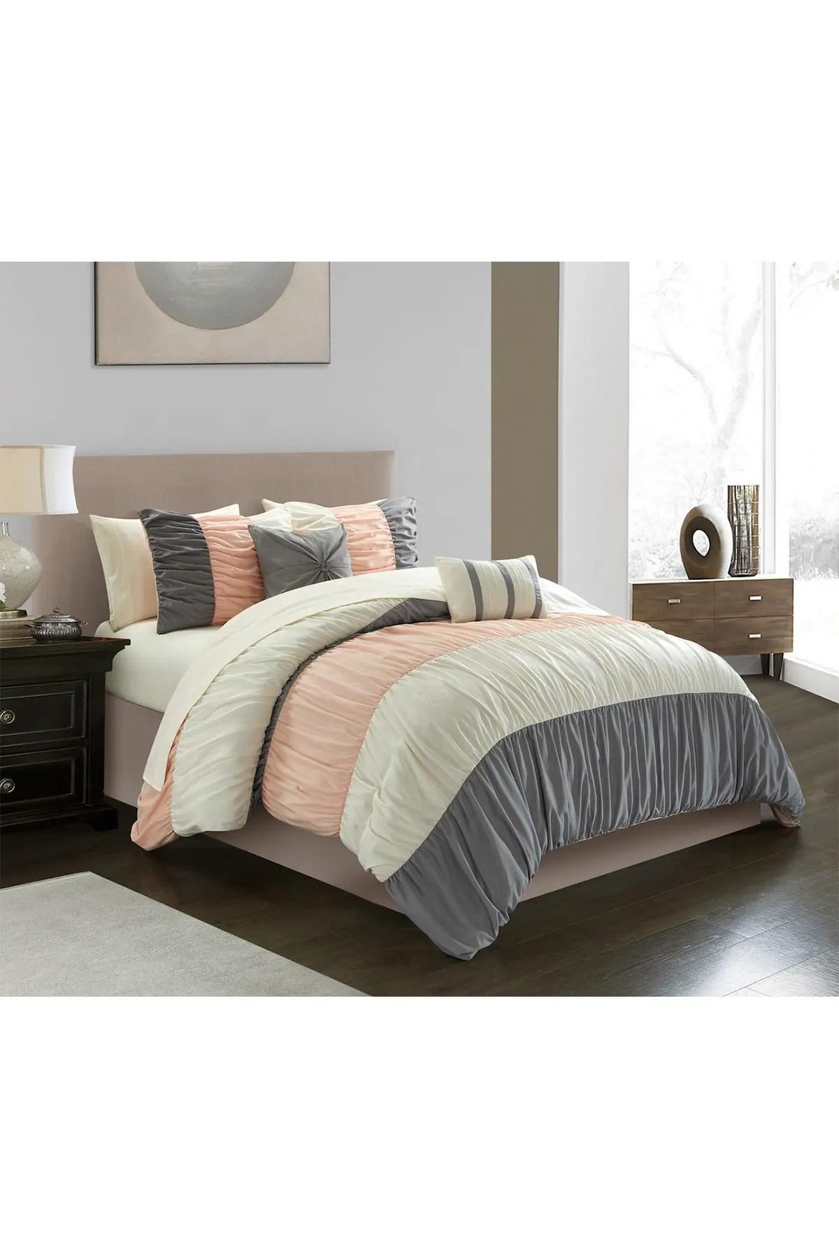chic home bedding jaye ruched color block design queen comforter set blush 9 piece set nordstrom rack