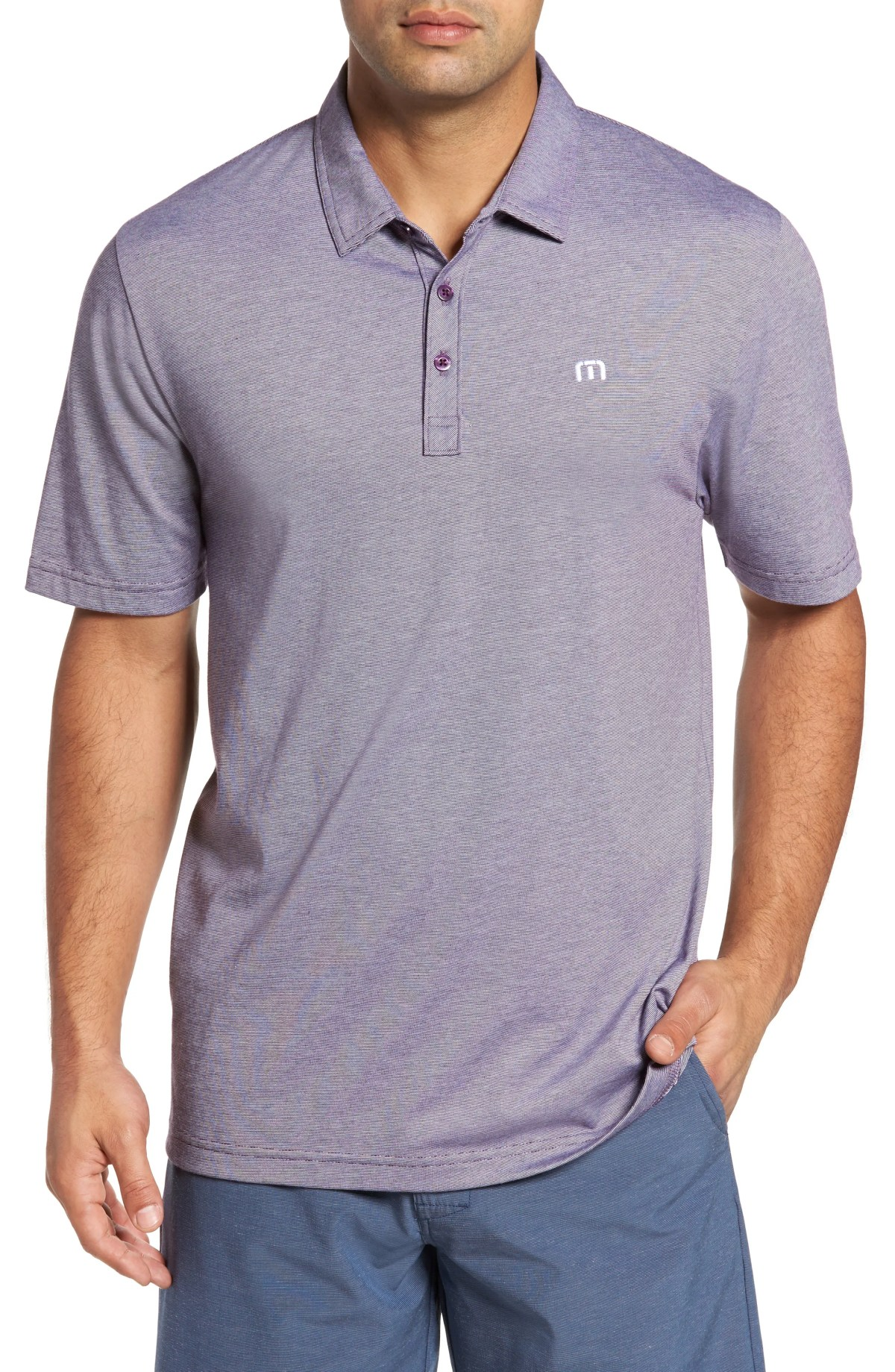 TRAVISMATHEW The Zinna Regular Fit Performance Polo, Main, color, BLACKBERRY/ WHITE