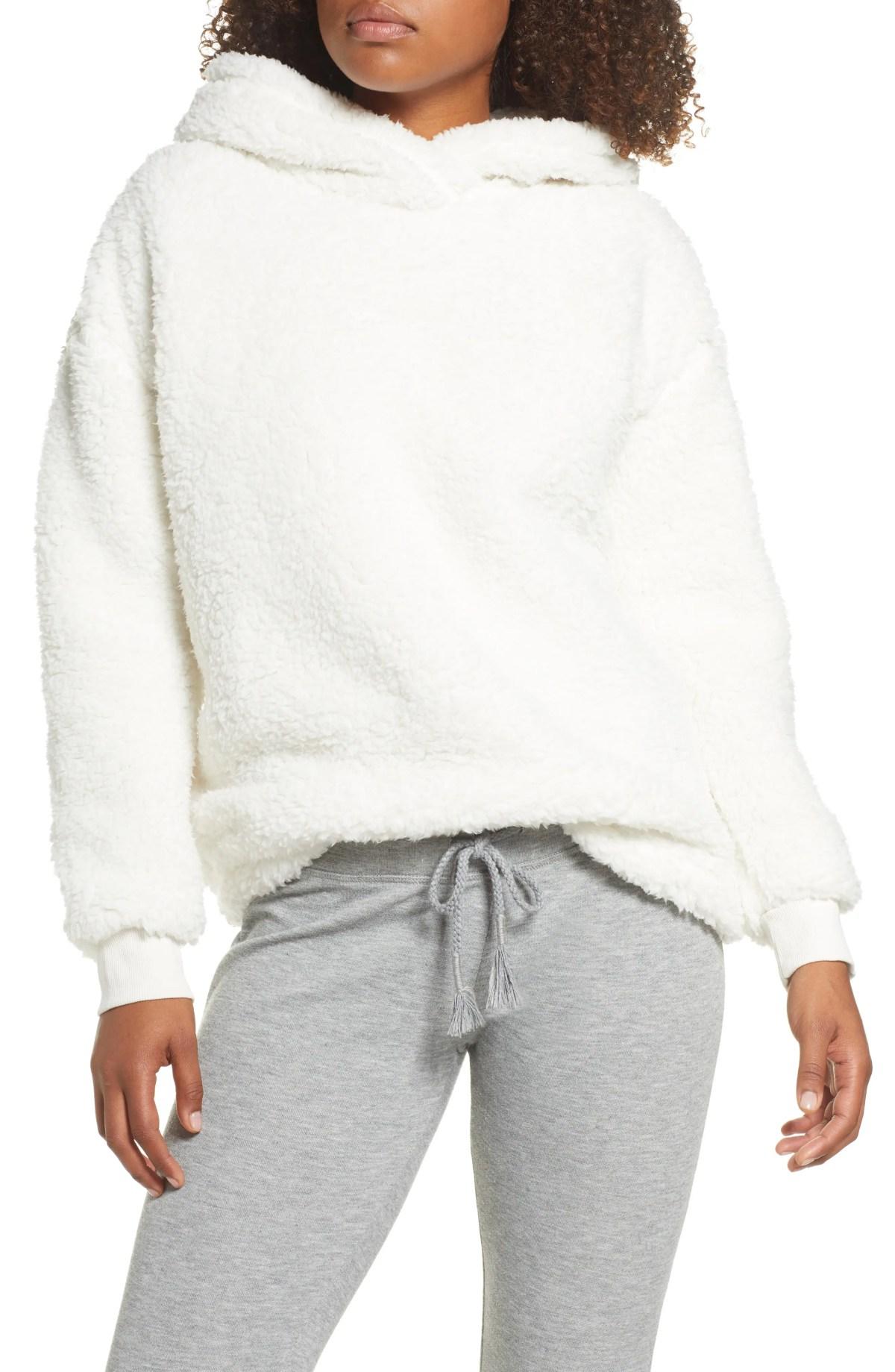 BP. On a Cloud Fleece Hoodie, Main, color, IVORY EGRET