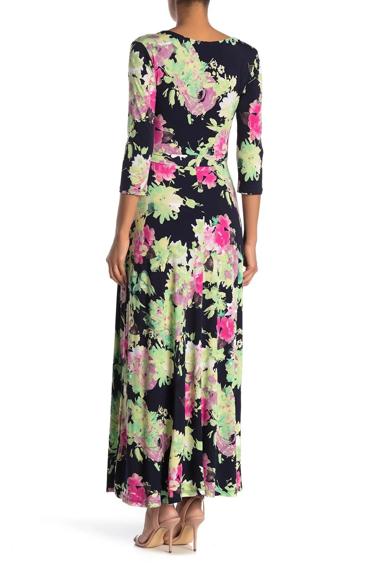 west kei floral 3 4 length sleeve maxi dress nordstrom rack