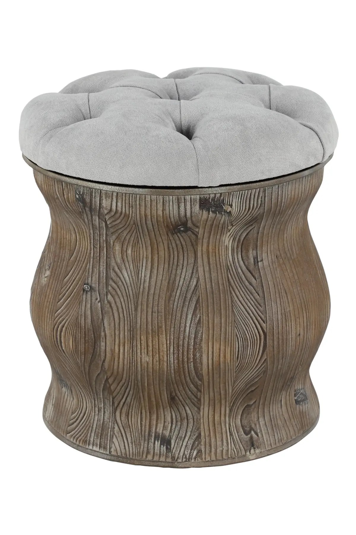 willow row rustic wood soft gray round ottoman with storage nordstrom rack