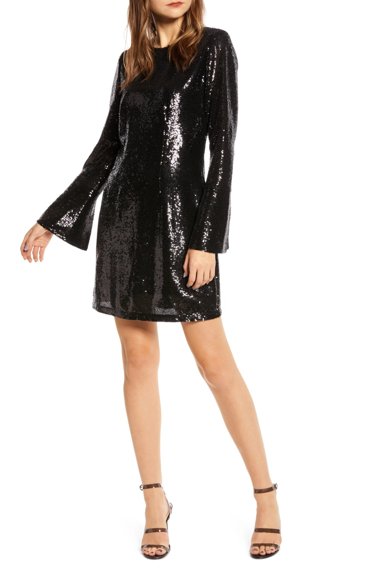SOMETHING NAVY Long Sleeve Sequin Minidress, Main, color, BLACK