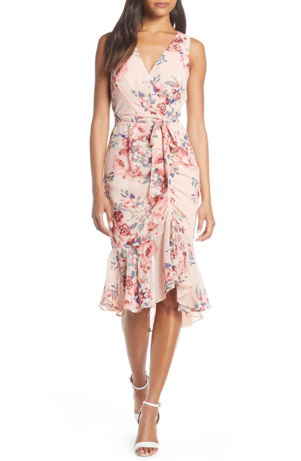 ELIZA J Floral Ruched Chiffon Faux Wrap Dress, Main, color, BLUSH