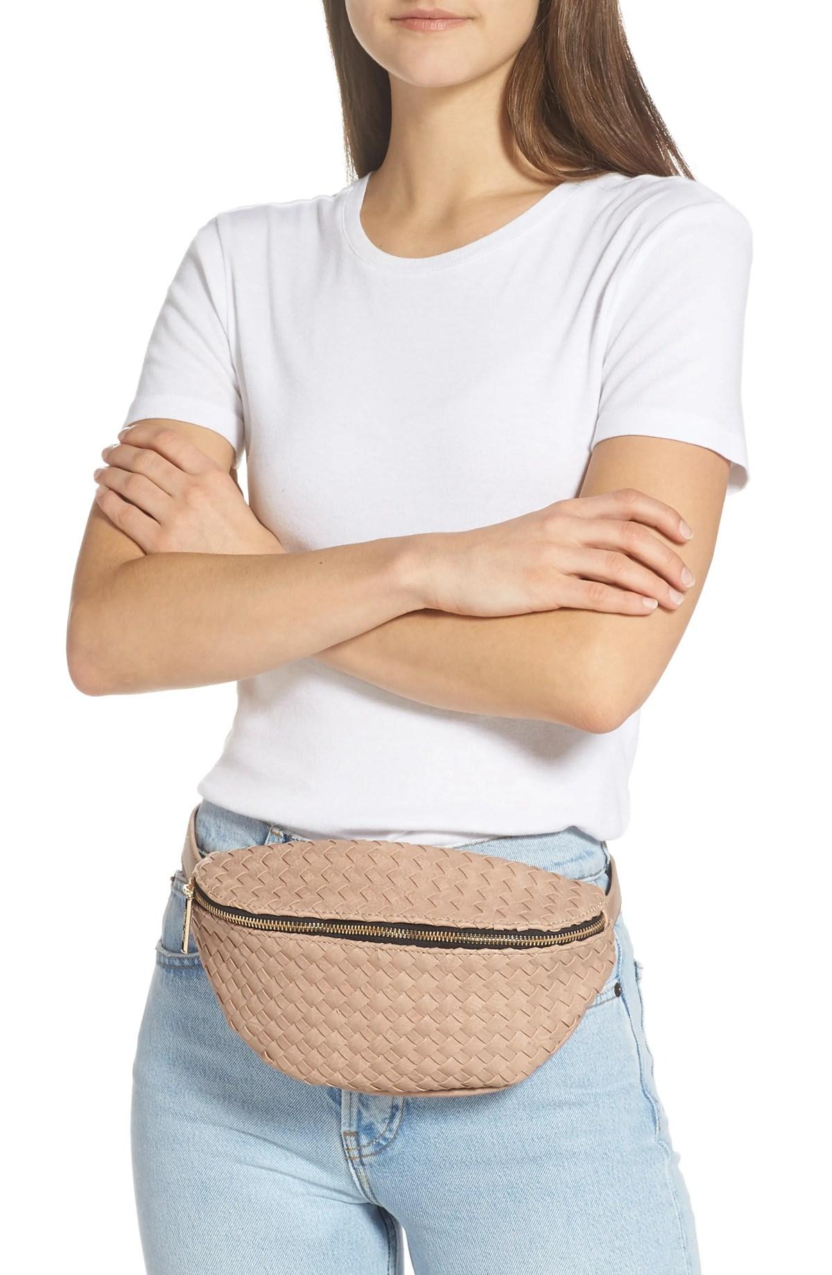 MALI + LILI Beta Woven Vegan Leather Belt Bag, Alternate, color, TAUPE