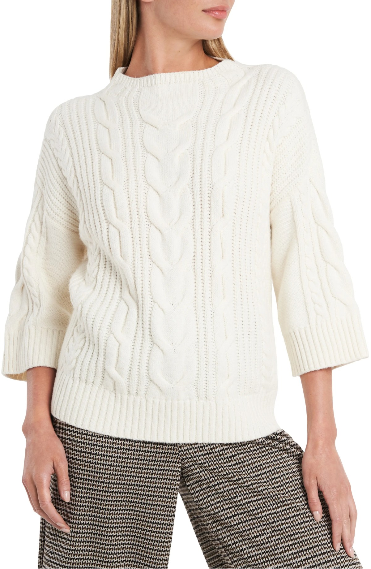VINCE CAMUTO Cable Stitch Sweater, Main, color, ANTIQUE WHITE