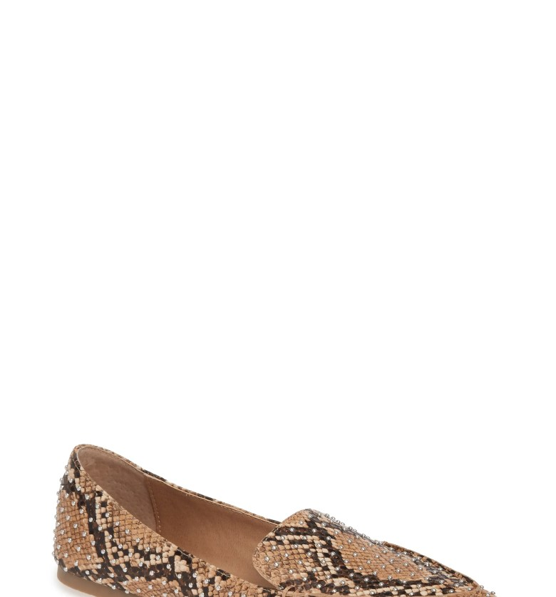 Feather Studded Loafer, Main, color, TAN SNAKE PRINT