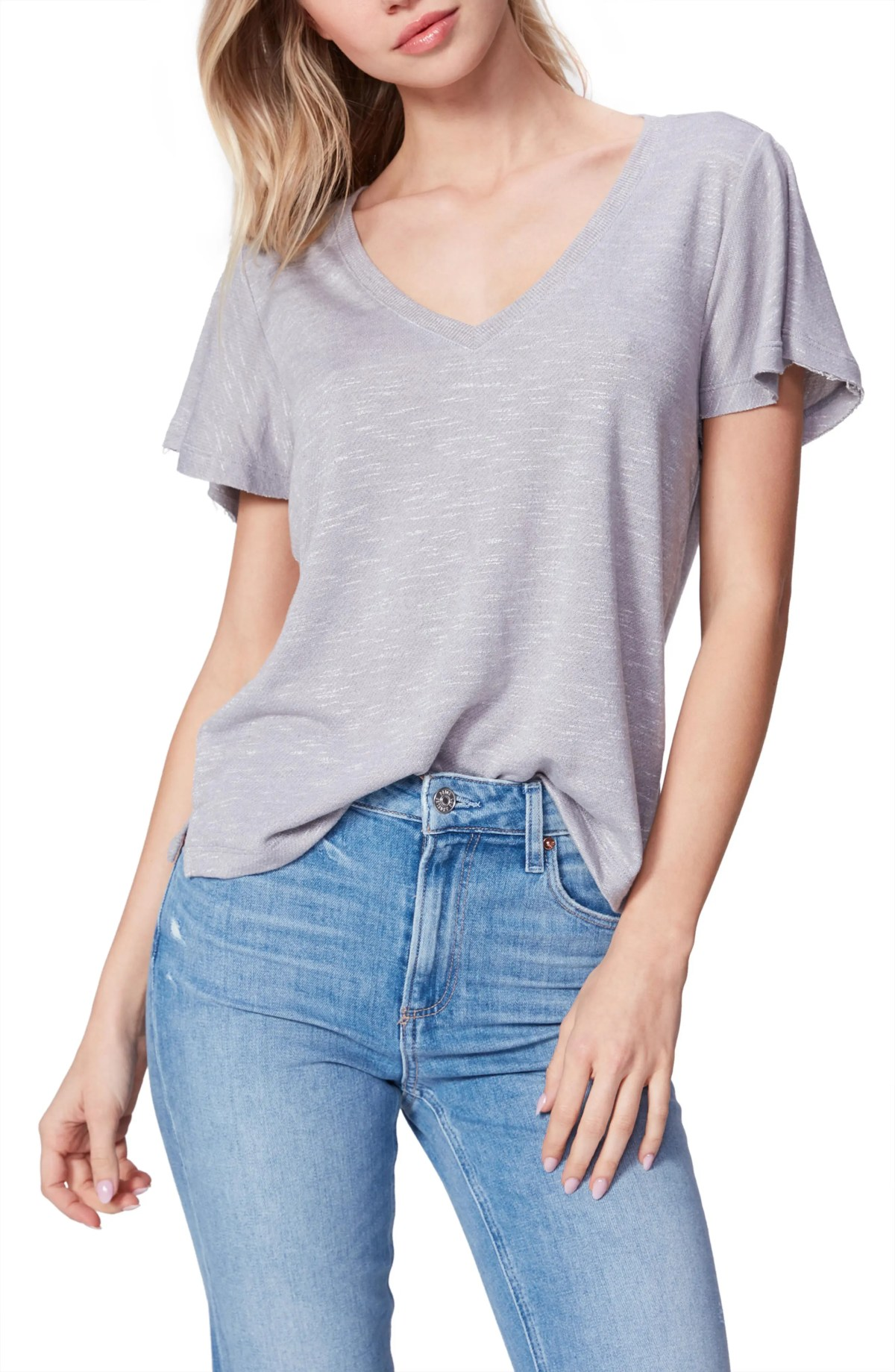 PAIGE Rochel Ruffle Sleeve T-Shirt, Main, color, BRIGHT HEATHER GREY