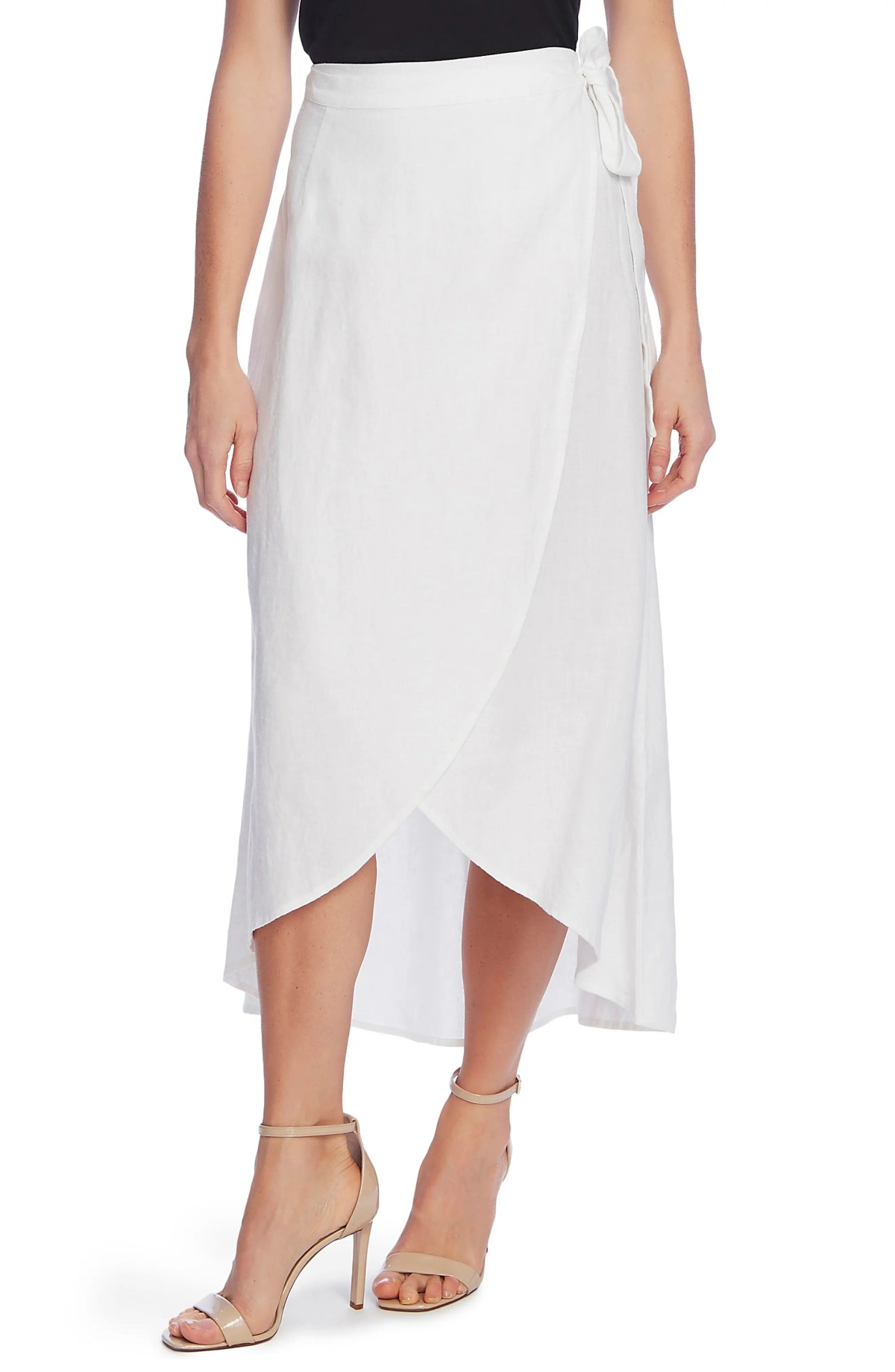 VINCE CAMUTO Linen Wrap Skirt, Main, color, ULTRA WHITE