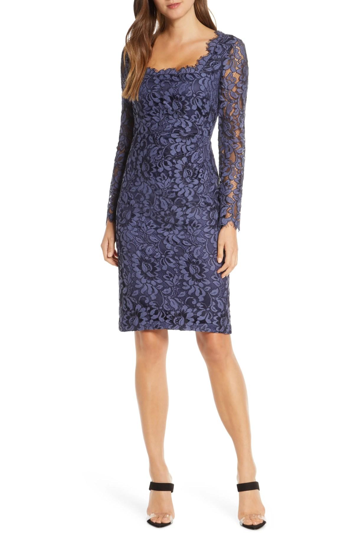 ELIZA J Lace Long Sleeve Sheath Dress, Main, color, NAVY