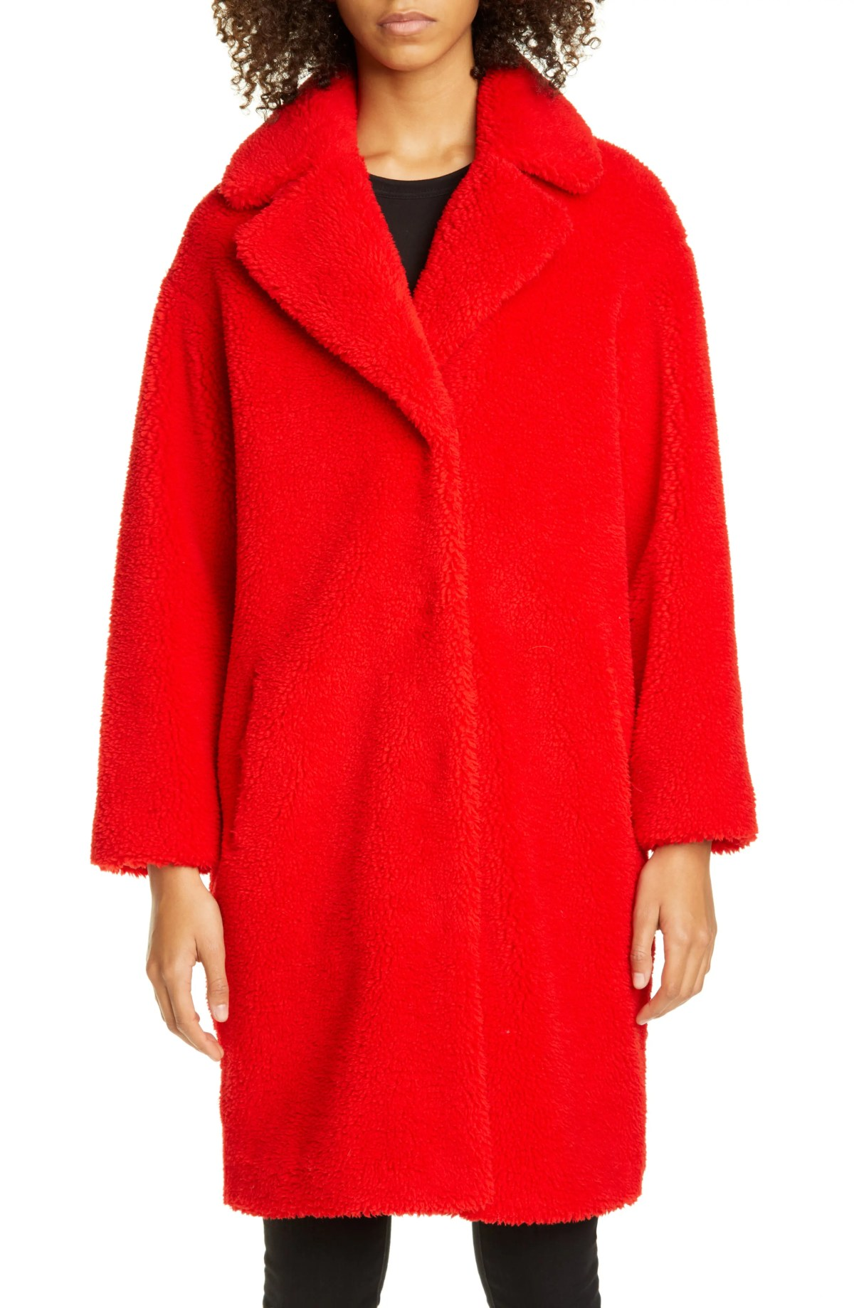 STAND STUDIO Camille Teddy Faux Fur Cocoon Coat, Main, color, 2500 RED