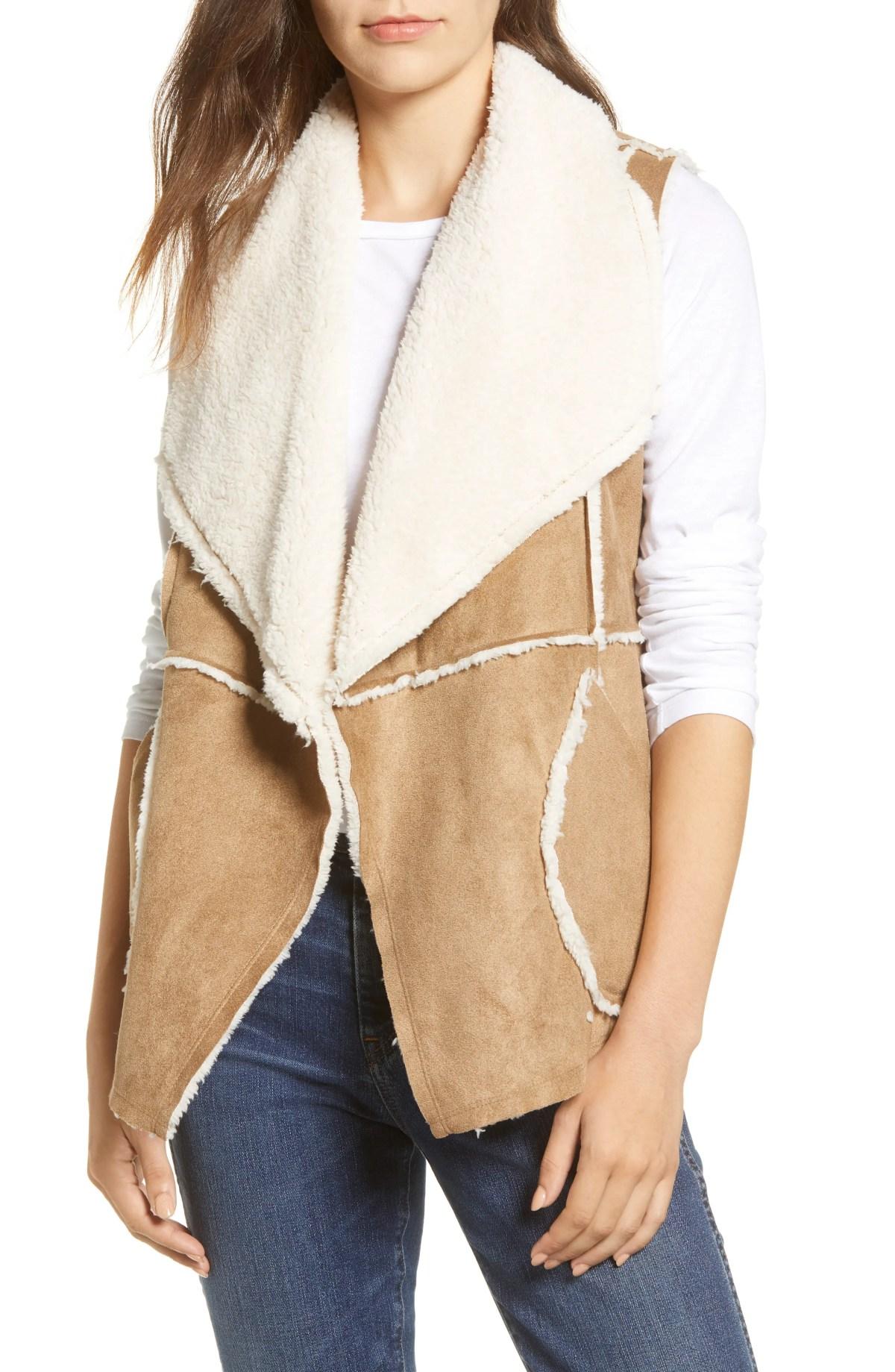 CASLON<SUP>®</SUP> Faux Shearling Vest, Main, color, CAMEL