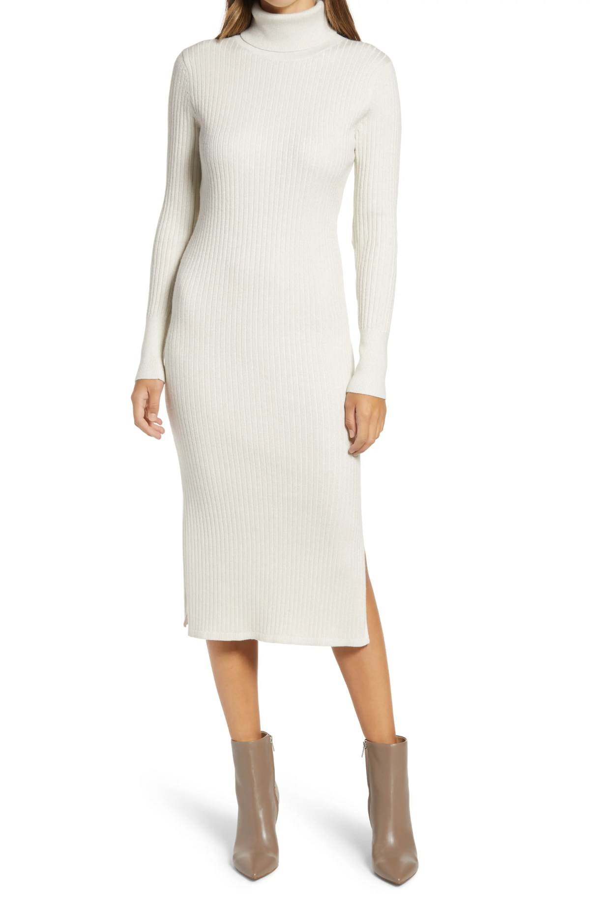 RACHEL PARCELL Long Sleeve Ribbed Turtleneck Sweater Dress, Main, color, IVORY