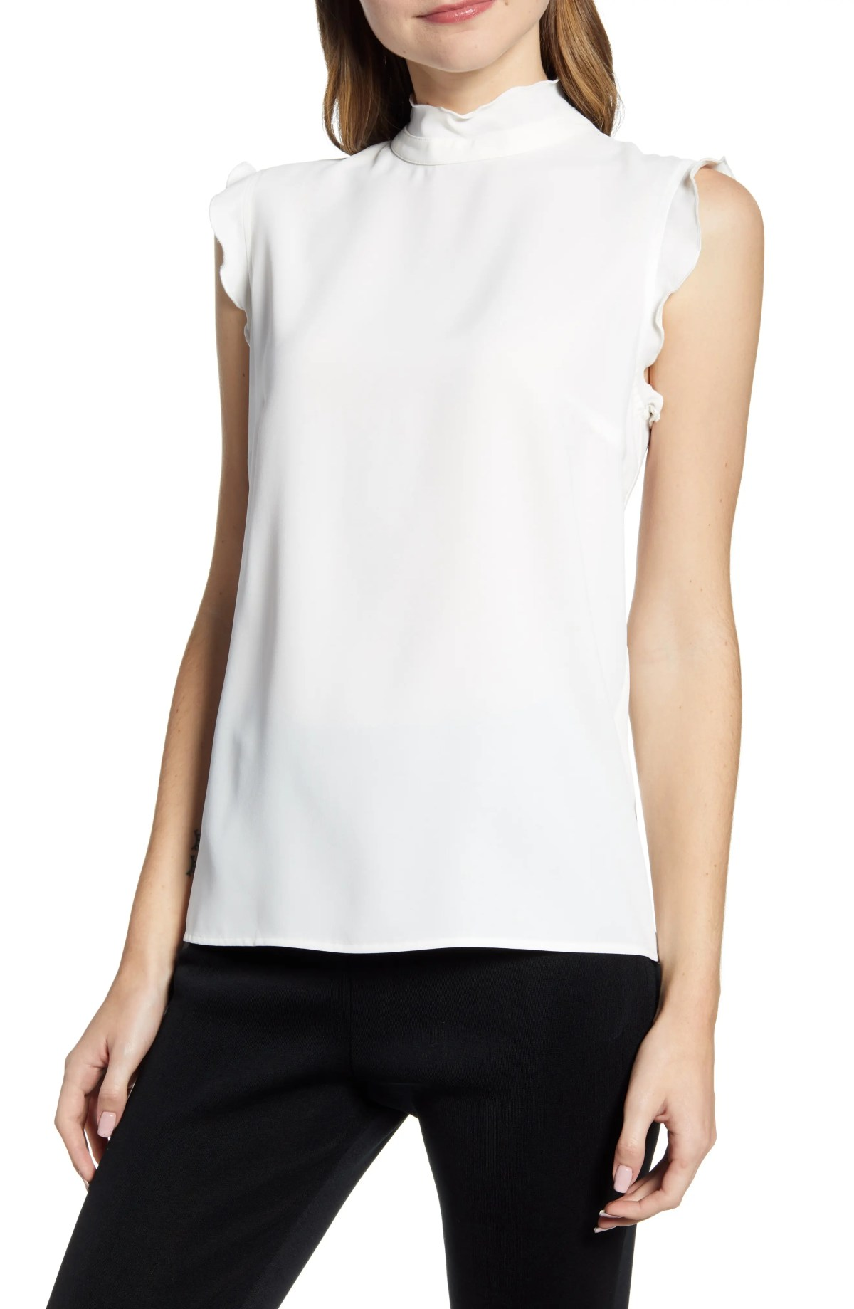 MING WANG Mock Neck Blouse, Main, color, WHITE
