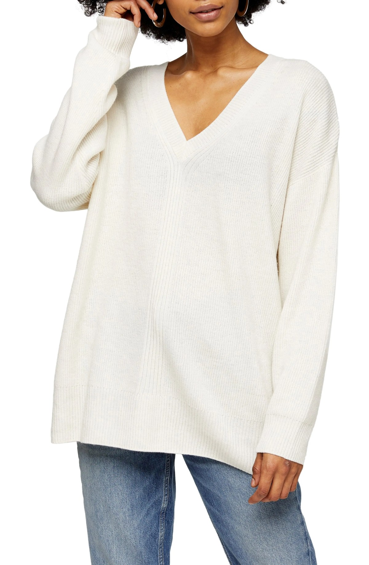 TOPSHOP Ribbed V-Neck Sweater, Main, color, IVORY