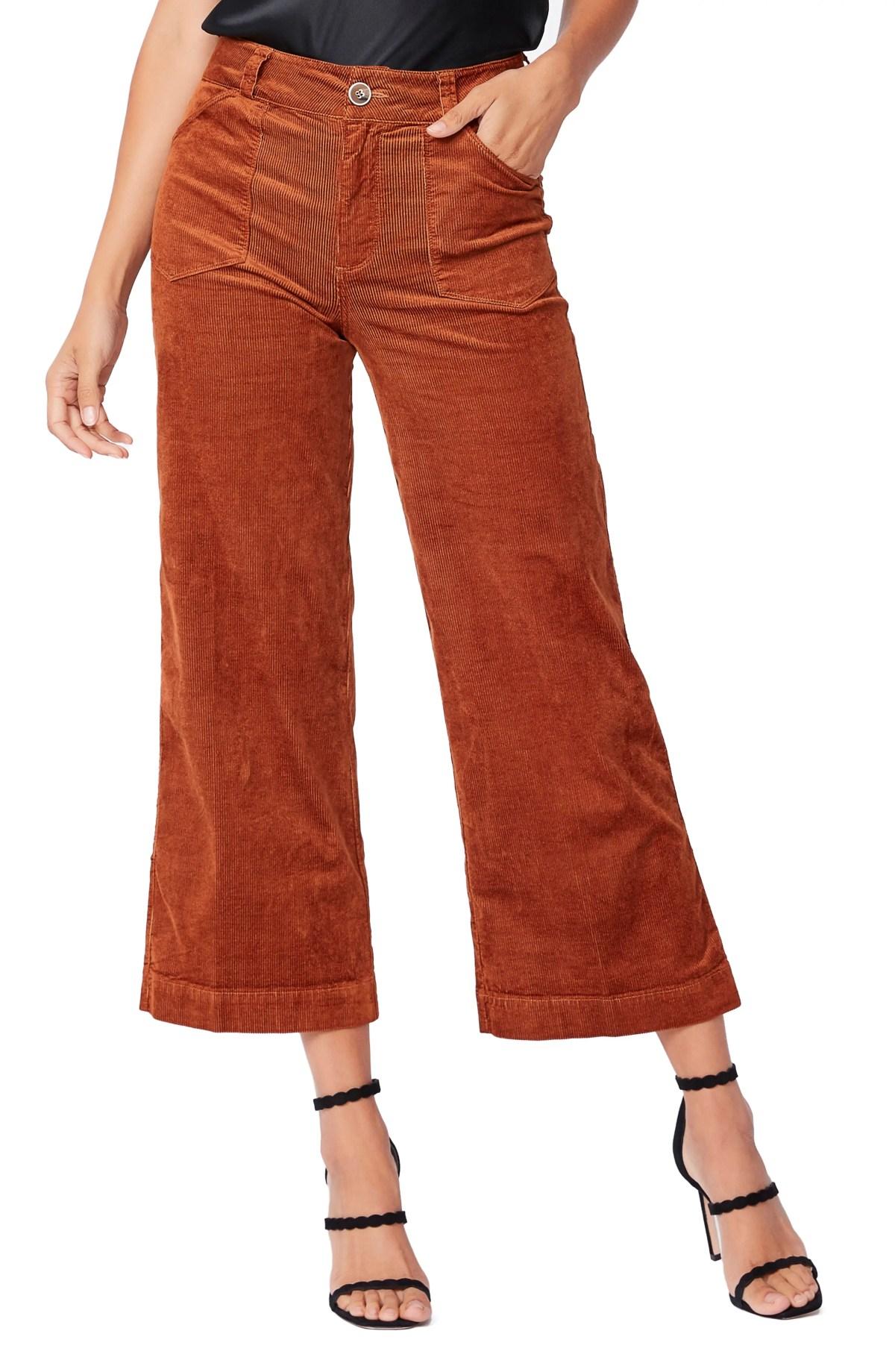 PAIGE Anessa Corduroy Wide Leg Crop Pants, Main, color, ARGAN OIL