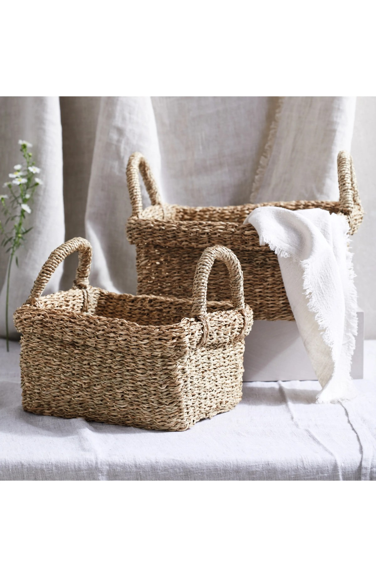 THE WHITE COMPANY Set of 2 Rectangular Seagrass Baskets, Main, color, NATURAL
