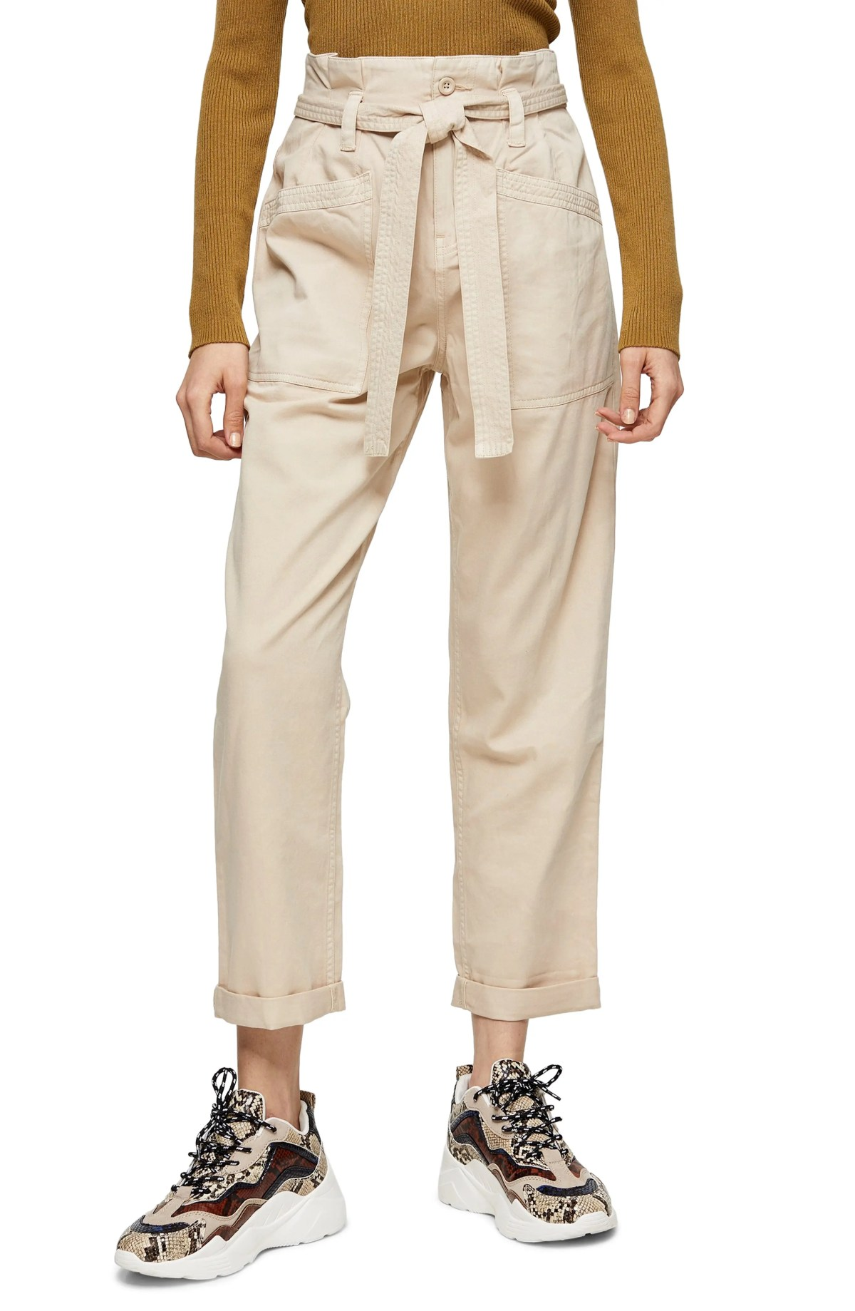 TOPSHOP Billy Paperbag Waist Crop Utility Trousers, Main, color, STONE
