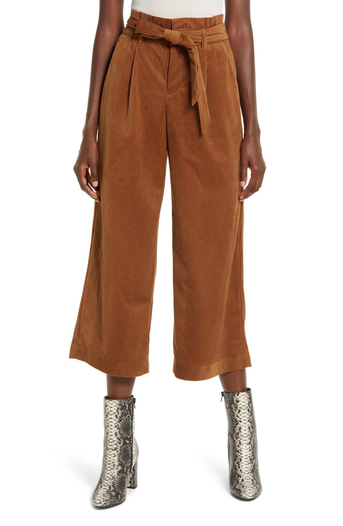 VERO MODA Londyn High Waist Corduroy Paperbag Waist Pants, Main, color, EMPERADOR