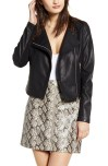 Record Breaker Collarless Faux Leather Moto Jacket, Main, color, MOONLIGHTING/ BLACK