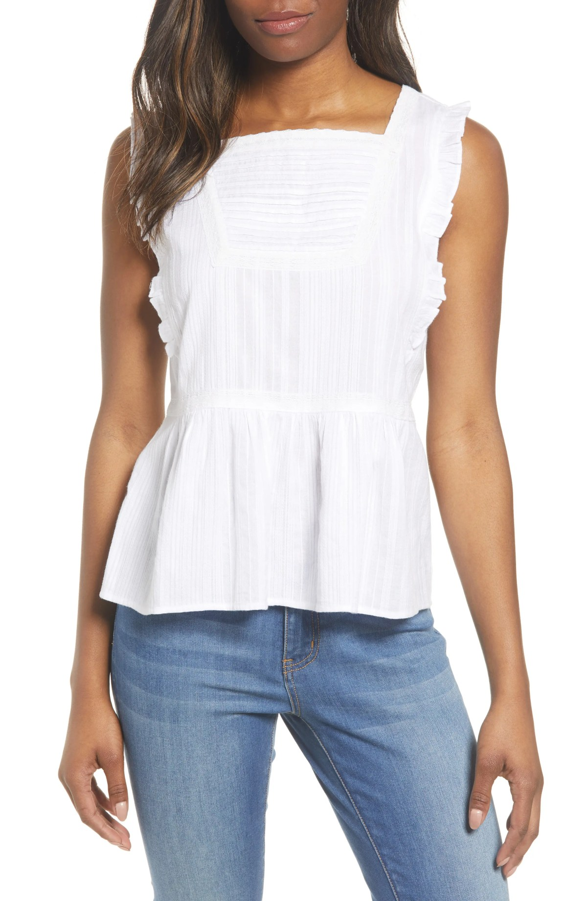 Sleeveless Ruffle Peplum Top, Main, color, WHITE