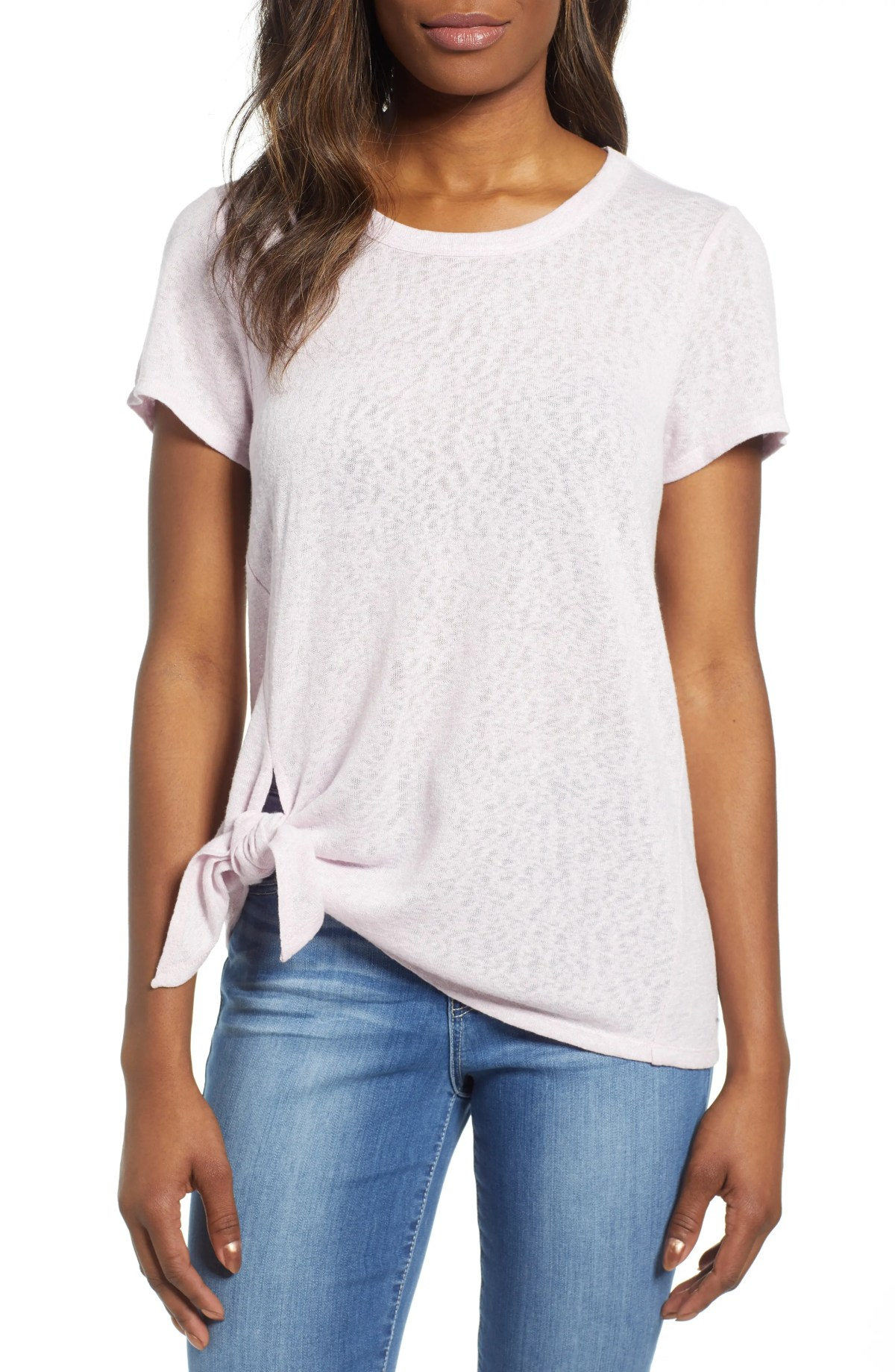 BOBEAU Side Tie Tee, Main, color, LIGHT LILAC