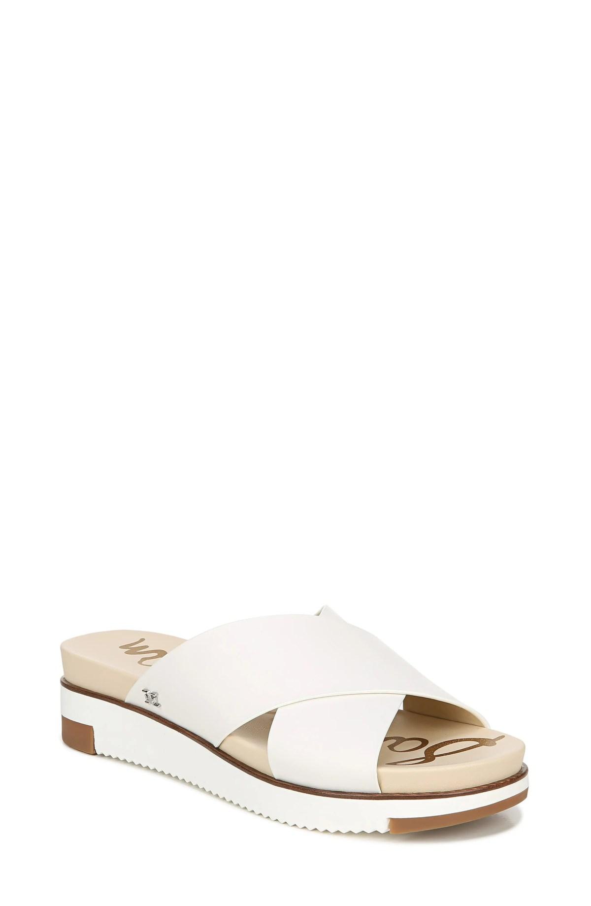 SAM EDELMAN Audrea Slide Sandal, Main, color, BRIGHT WHITE LEATHER