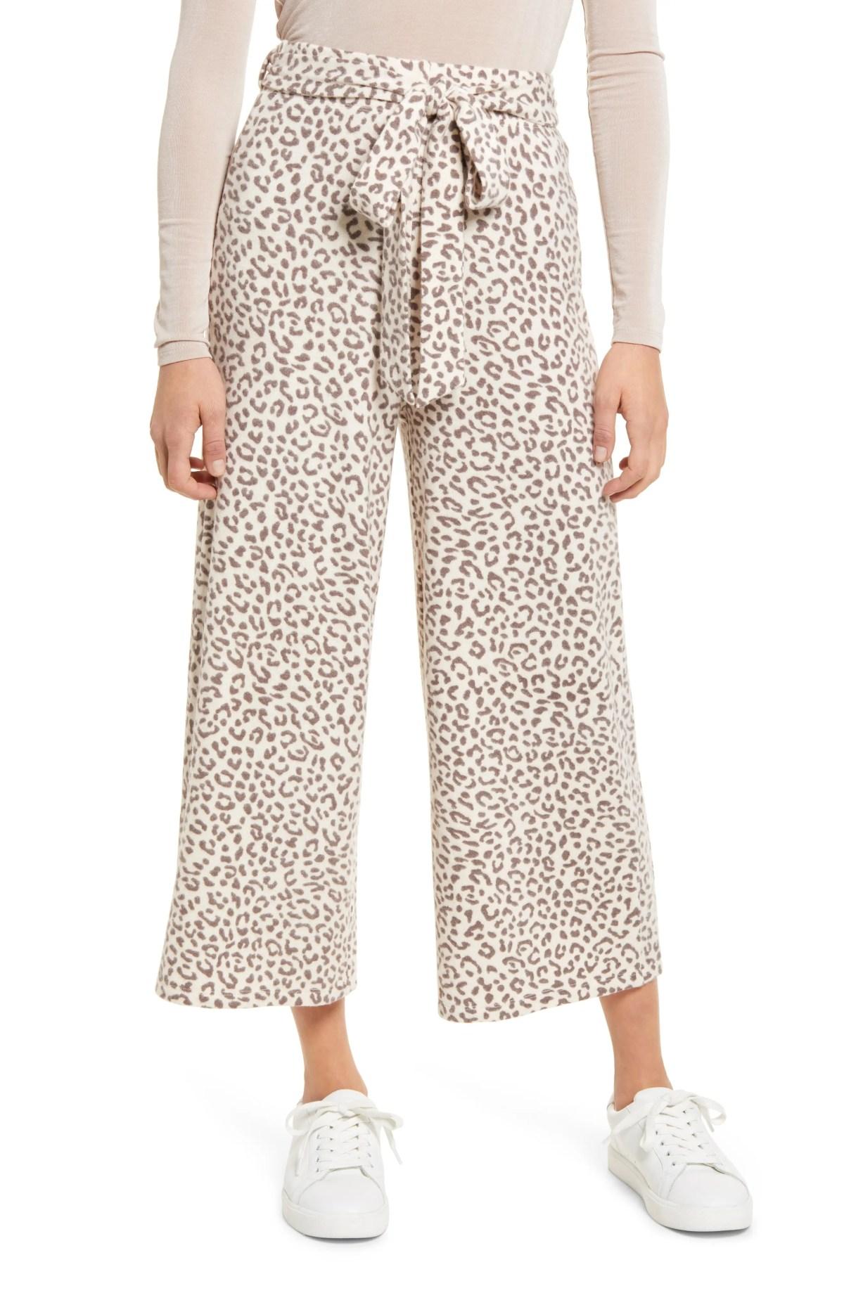 BOBEAU Tie Front Pants, Main, color, OAT LEOPARD