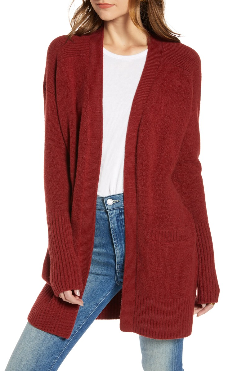 Throw-On Cotton & Wool Blend Cardigan, Main, color, RED SYRAH